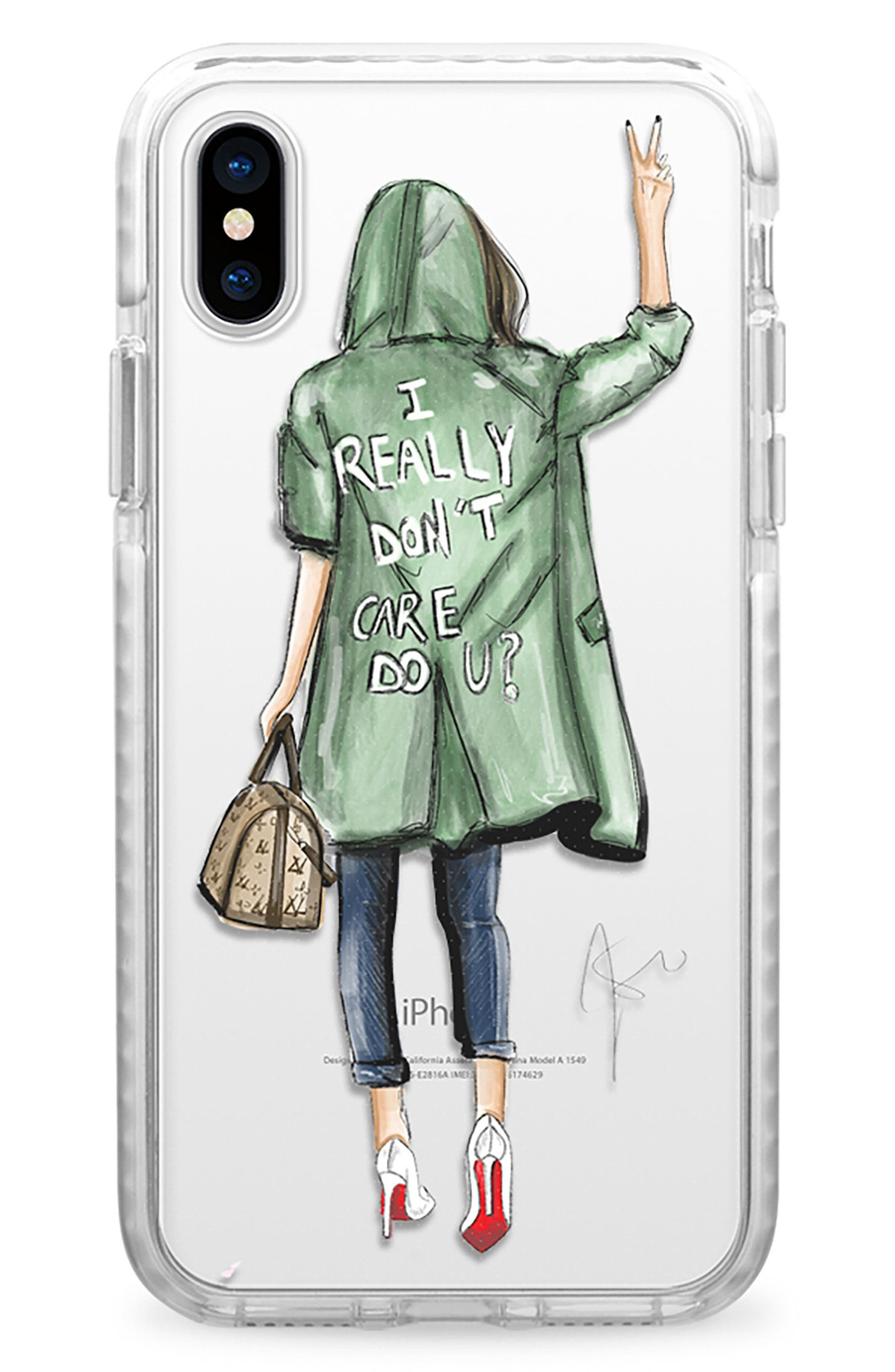 I Really Don't Care iPhone X Case,                             Main thumbnail 1, color,