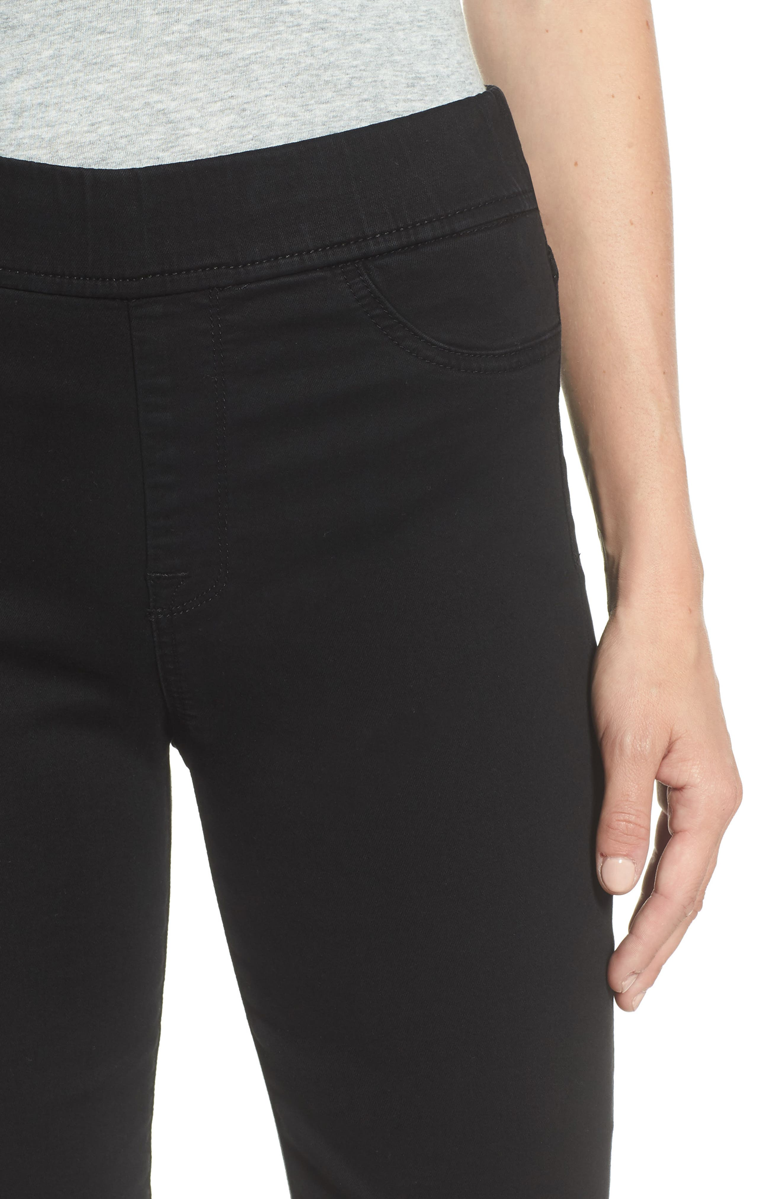 Comfort Skinny Denim Leggings,                             Alternate thumbnail 4, color,                             RICHE TOUCH BLACK NOIR