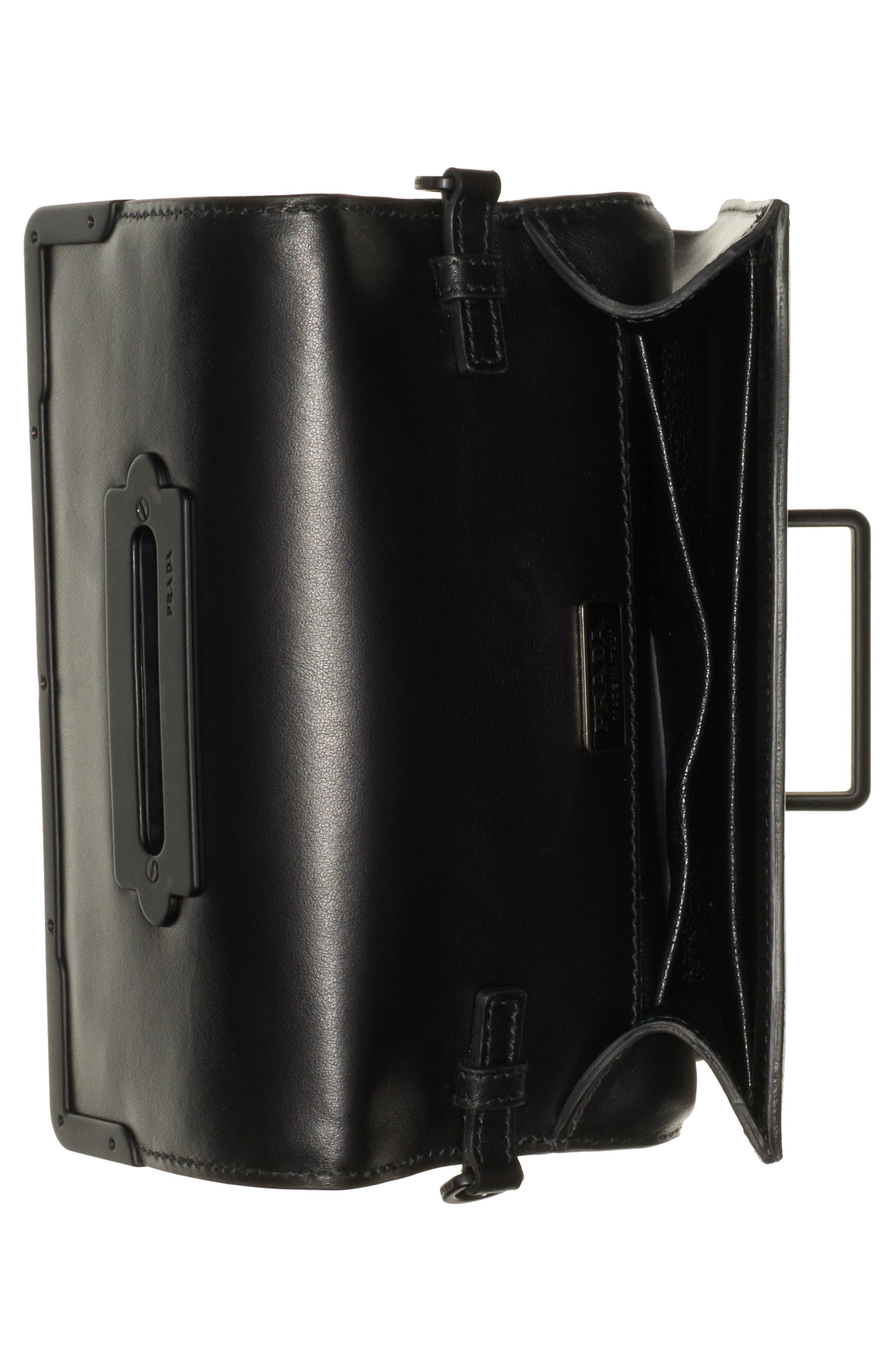 PRADA,                             Cahier Studded Leather Crossbody Bag,                             Alternate thumbnail 3, color,                             NERO/ NERO