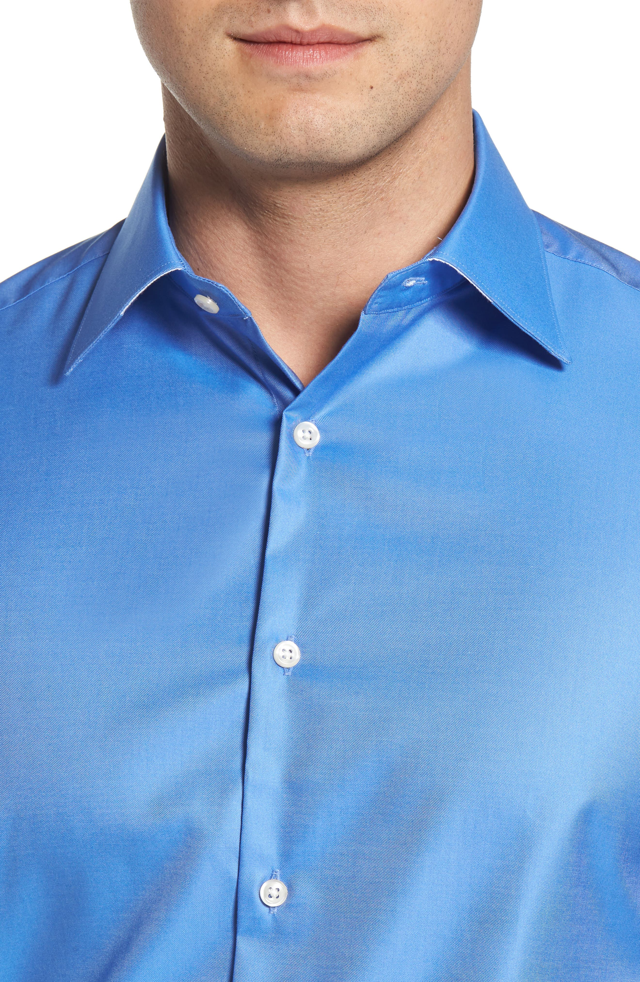 Regular Fit Solid Dress Shirt,                             Alternate thumbnail 2, color,                             DARK BLUE