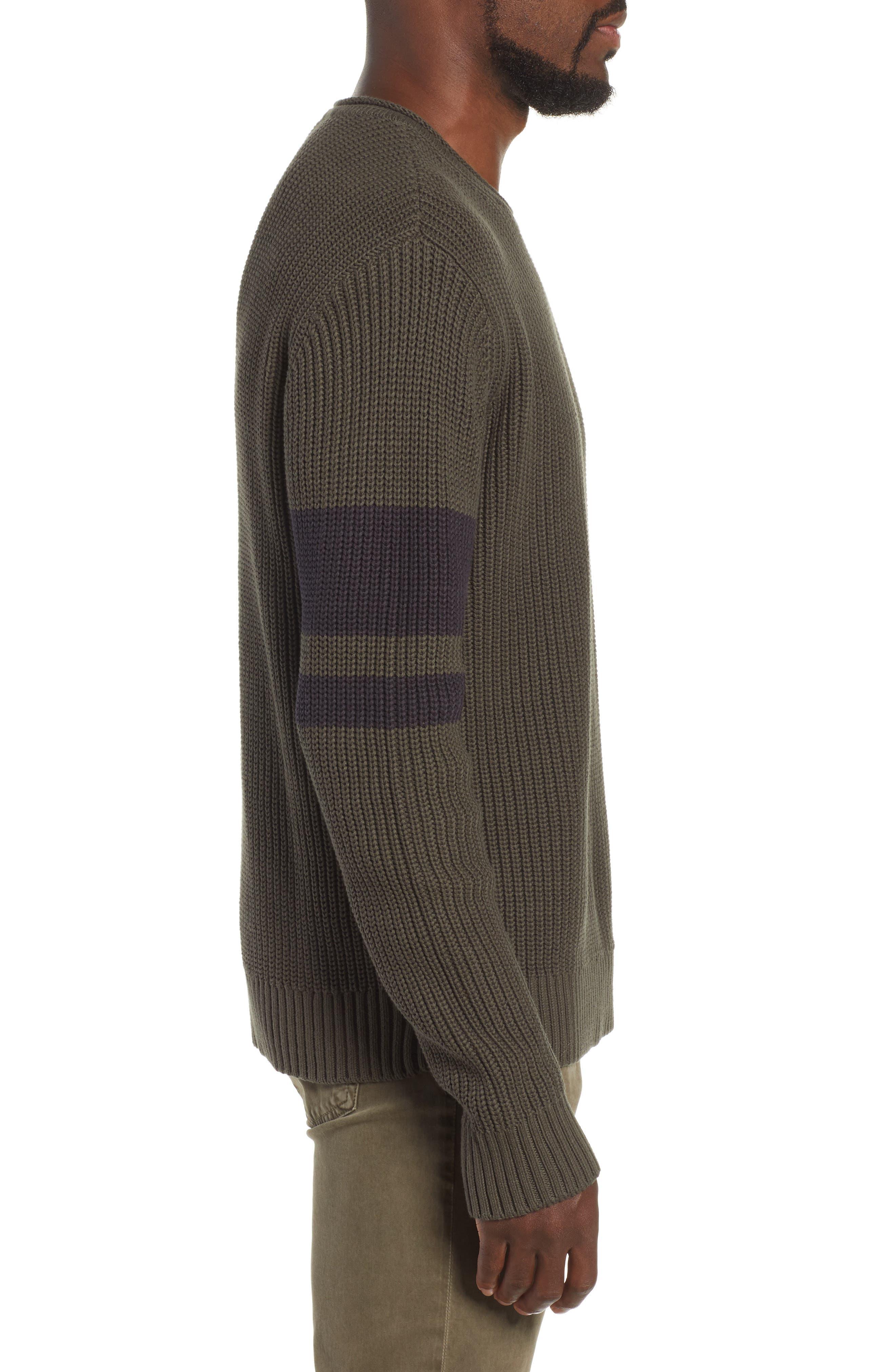 Jett Slim Fit Crewneck Sweater,                             Alternate thumbnail 3, color,                             OAK GROVE/ BLACK