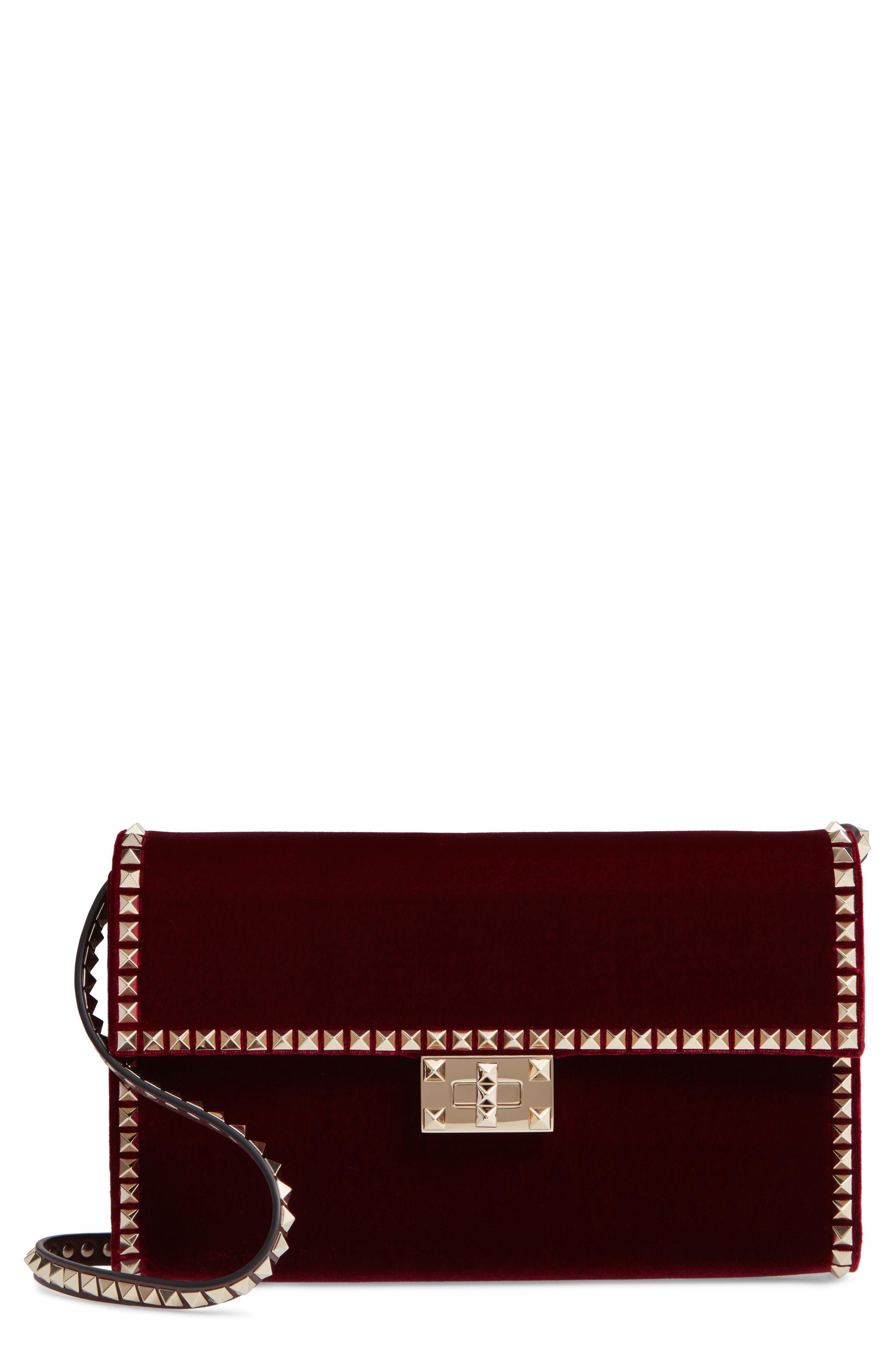 Rockstud No Limit Velvet Shoulder Bag,                         Main,                         color, RUBINO