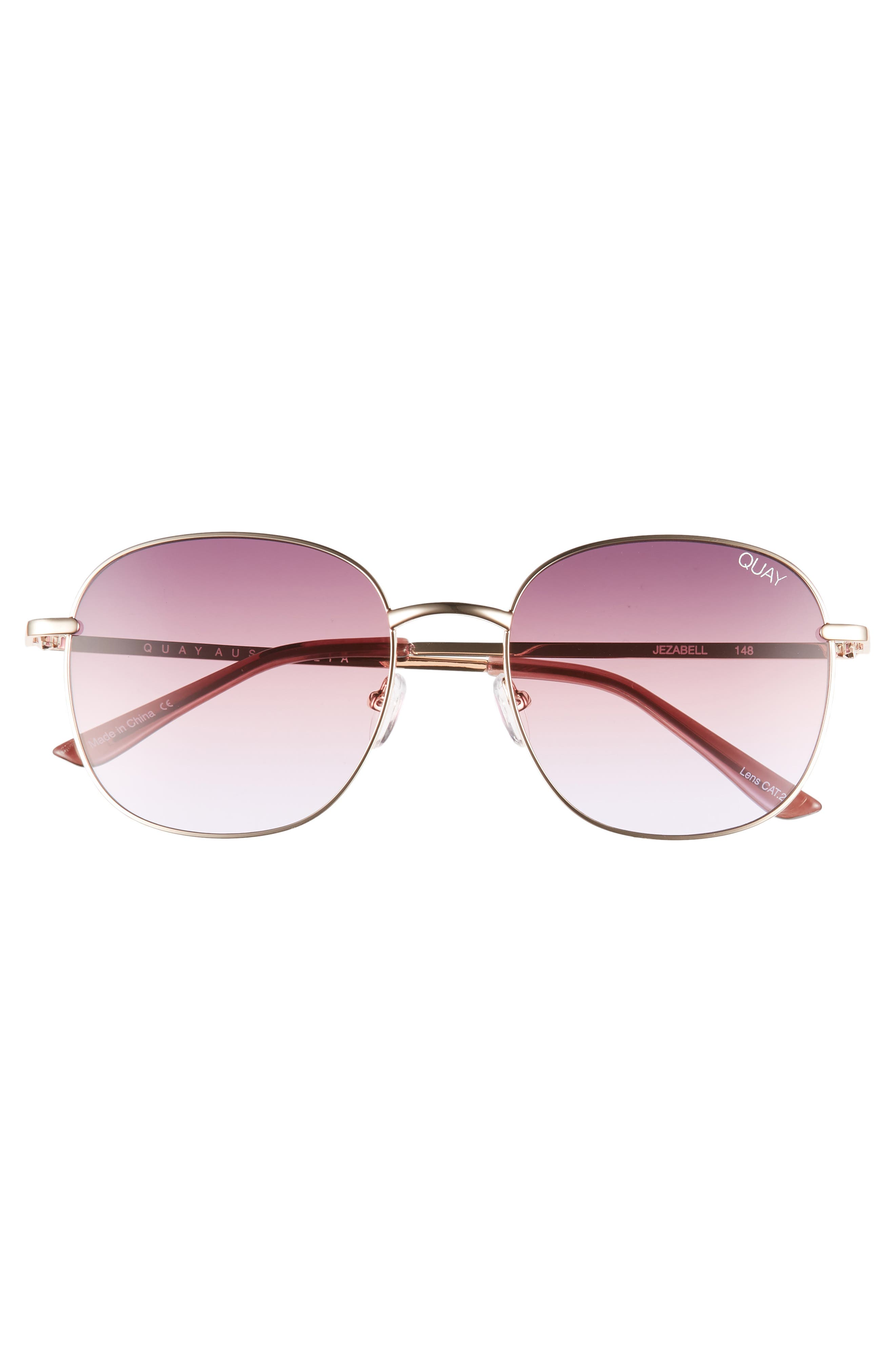 Jezabell 57mm Round Sunglasses,                             Alternate thumbnail 3, color,                             ROSE / PURPLE PINK FADE