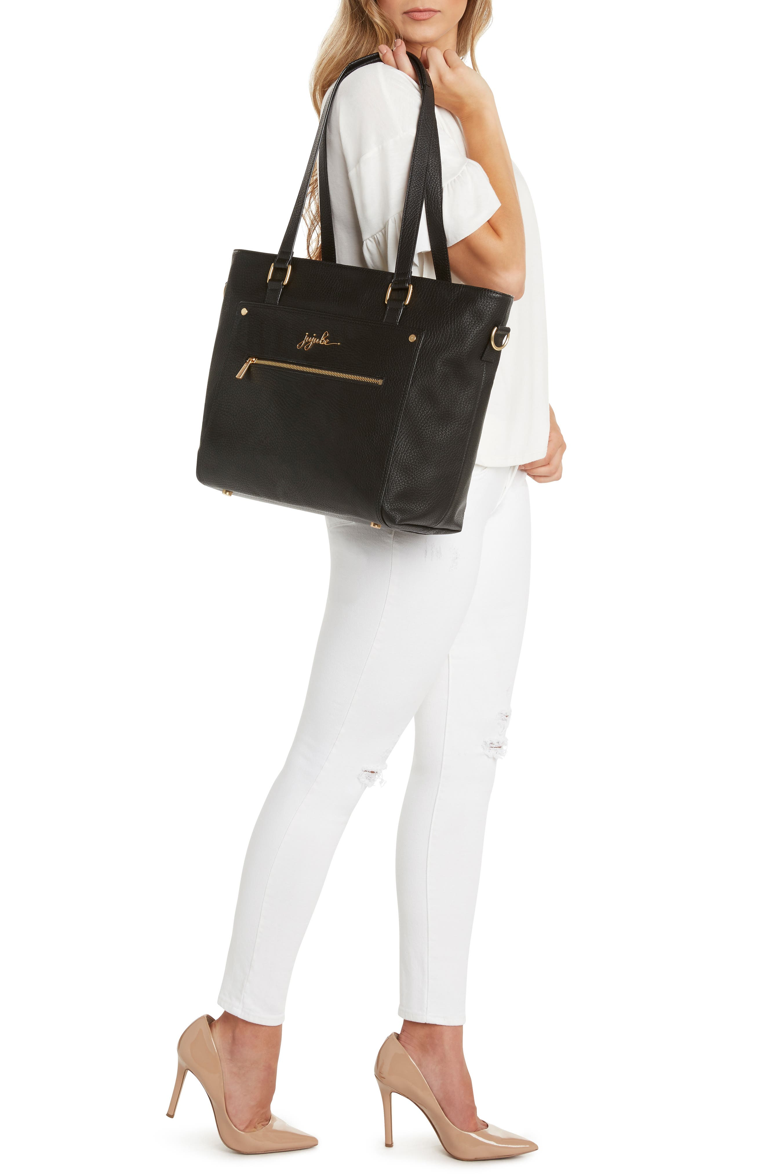 Ever Collection Everyday Faux Leather Diaper Tote,                             Alternate thumbnail 7, color,                             NOIR