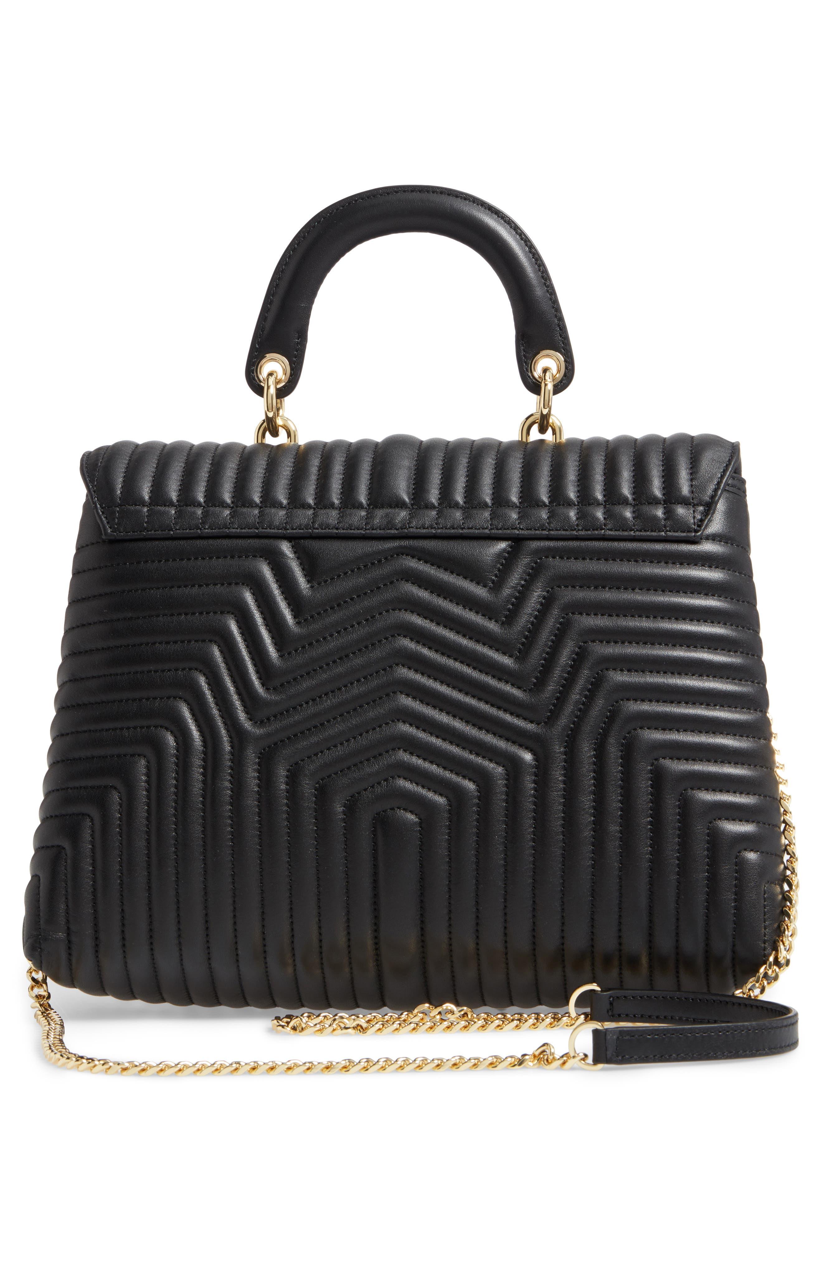 Vivida Quilted Leather Shoulder Bag,                             Alternate thumbnail 3, color,                             001