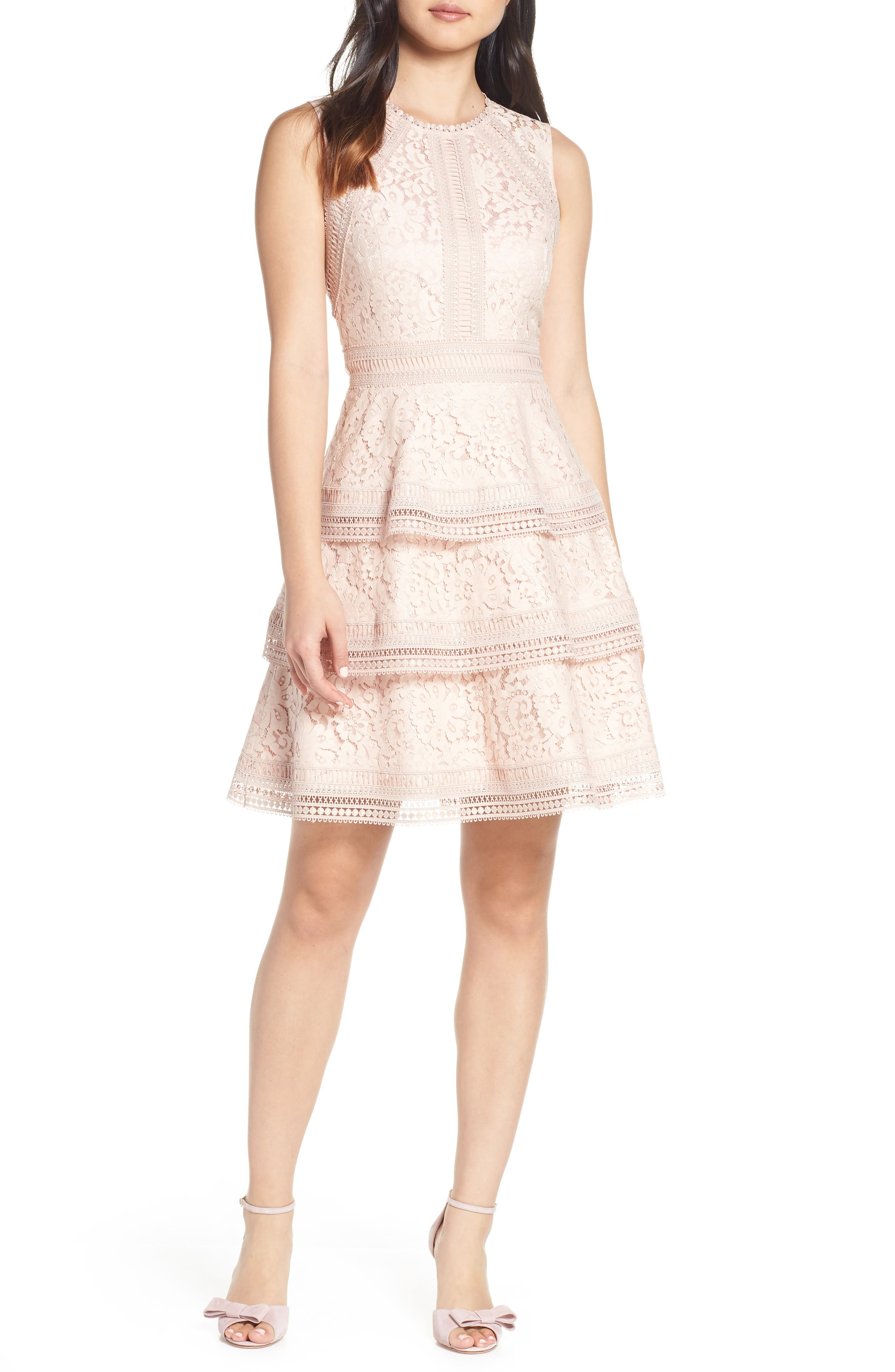 ELIZA J,                             Lace Fit & Flare Dress,                             Main thumbnail 1, color,                             BLUSH