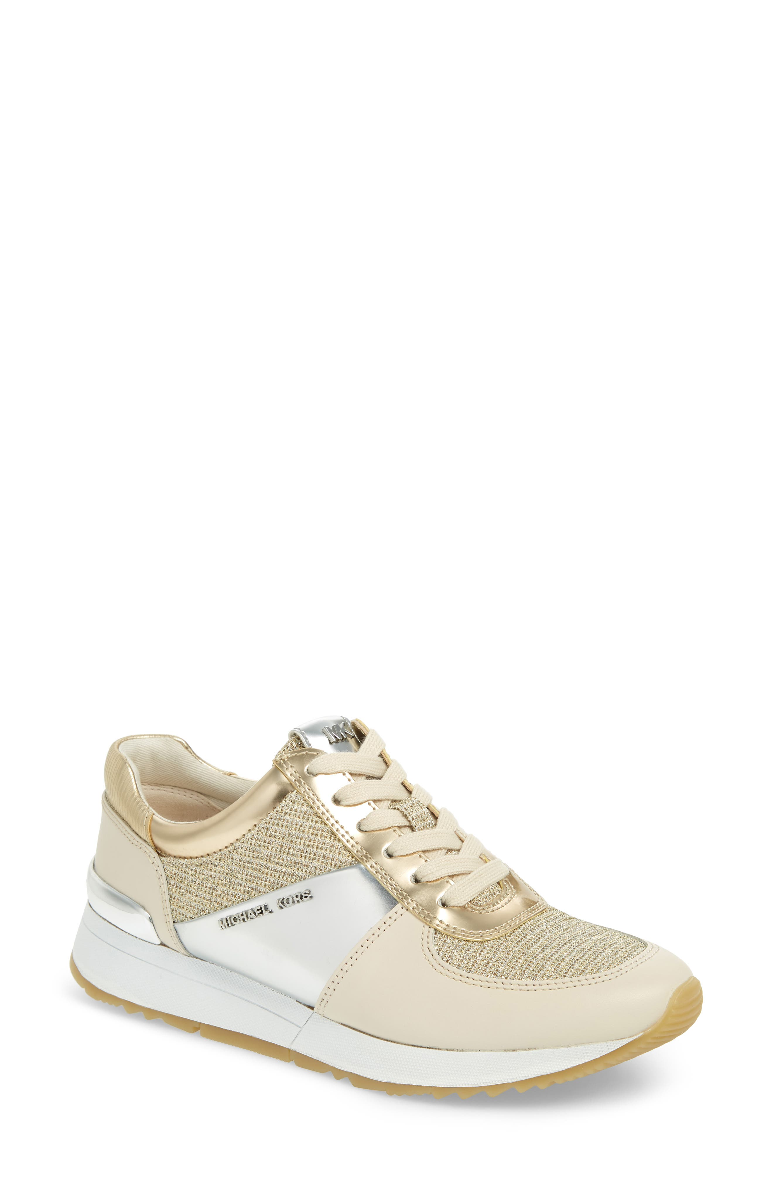 Allie Metallic Mix Trainers in Gold/ White Multi