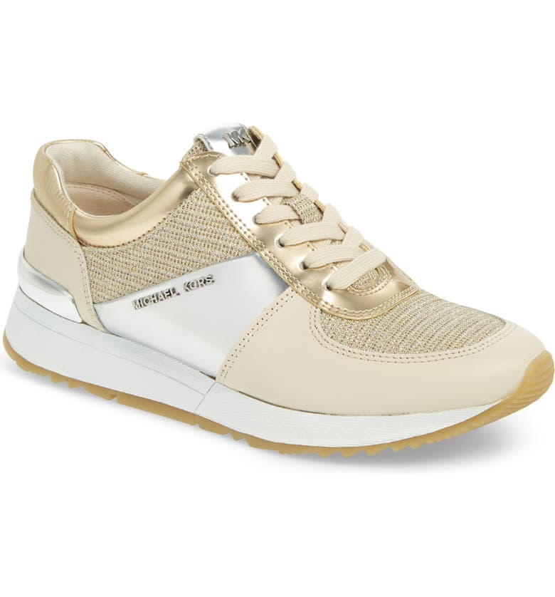41a8149c531a Michael Michael Kors Allie Metallic Mix Trainers In Gold  White Multi ...