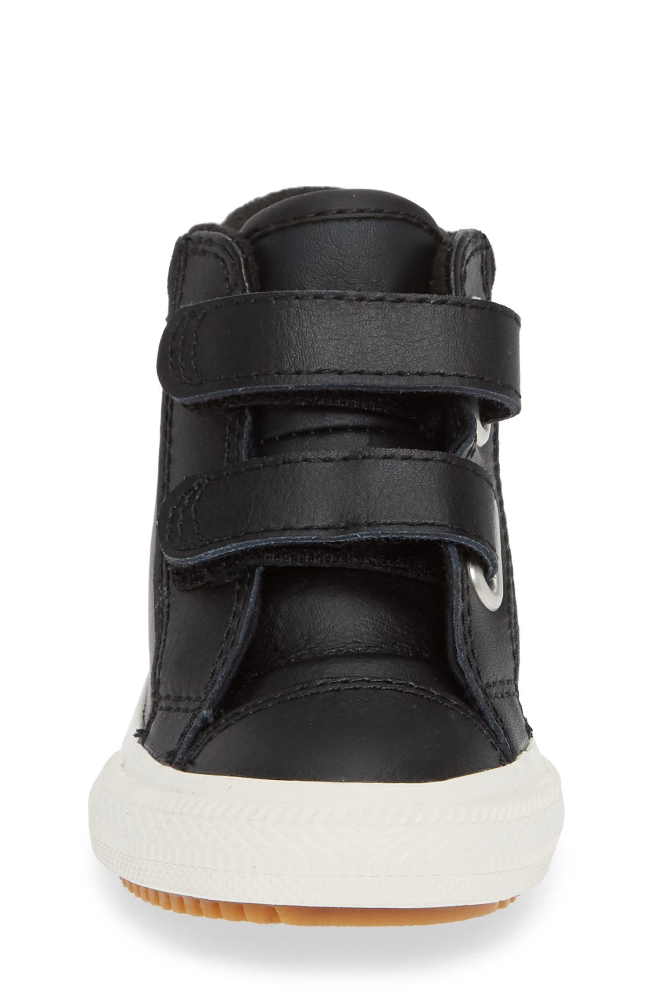 Chuck Taylor<sup>®</sup> All Star<sup>®</sup> 2V Leather High TopSneaker,                             Alternate thumbnail 4, color,                             BLACK