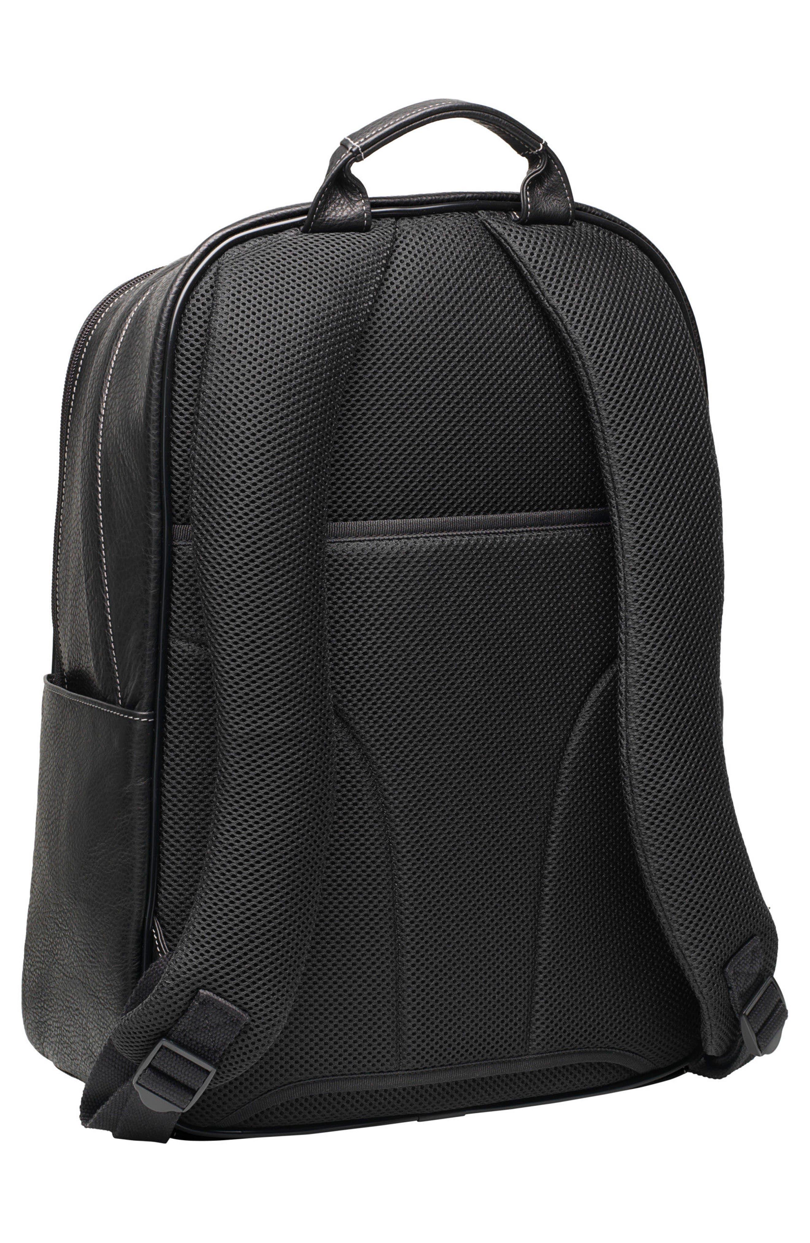 Leather Backpack,                             Alternate thumbnail 2, color,                             BLACK