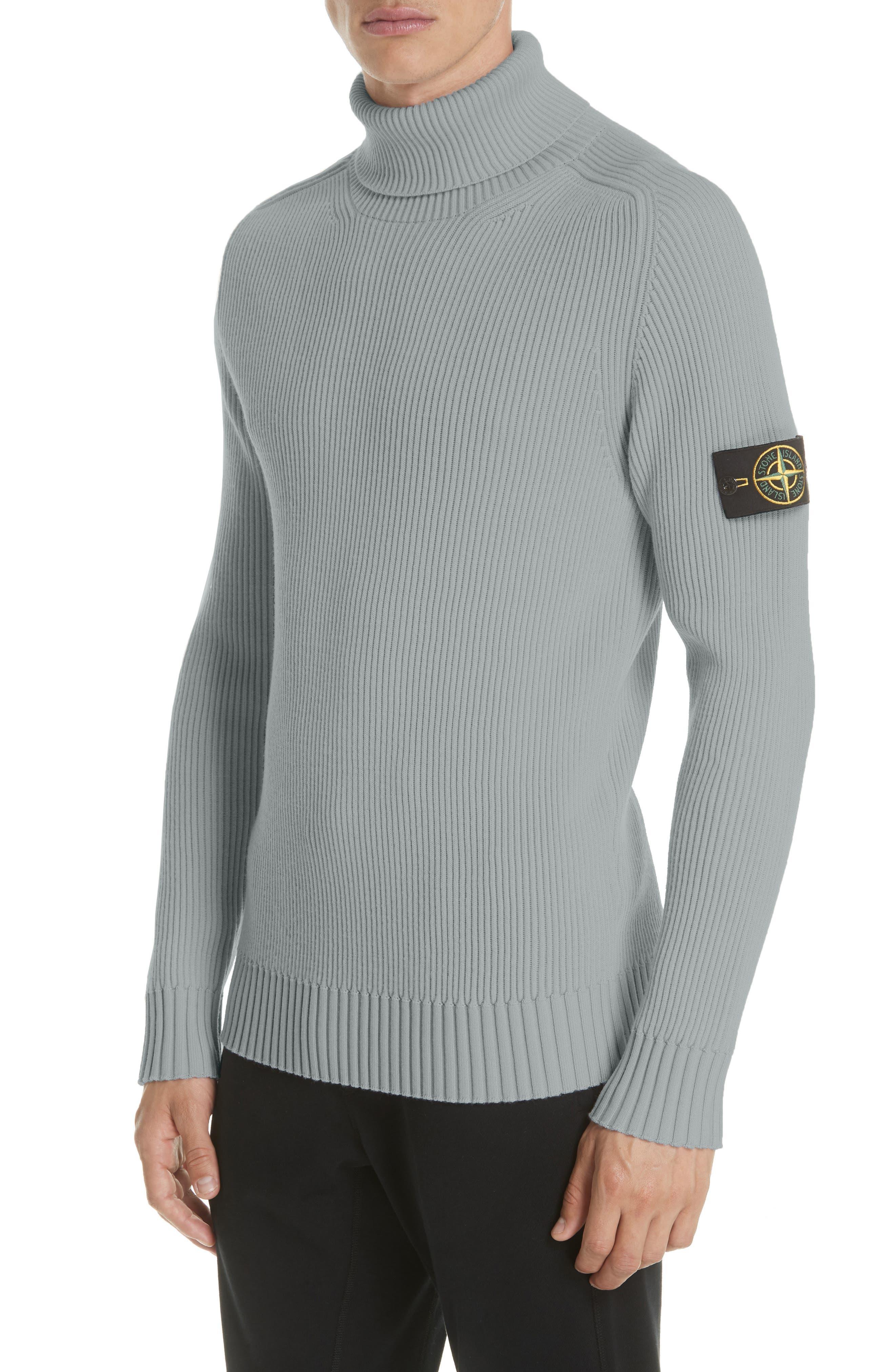 Ribbed Wool Turtleneck Sweater,                             Main thumbnail 1, color,                             GREY