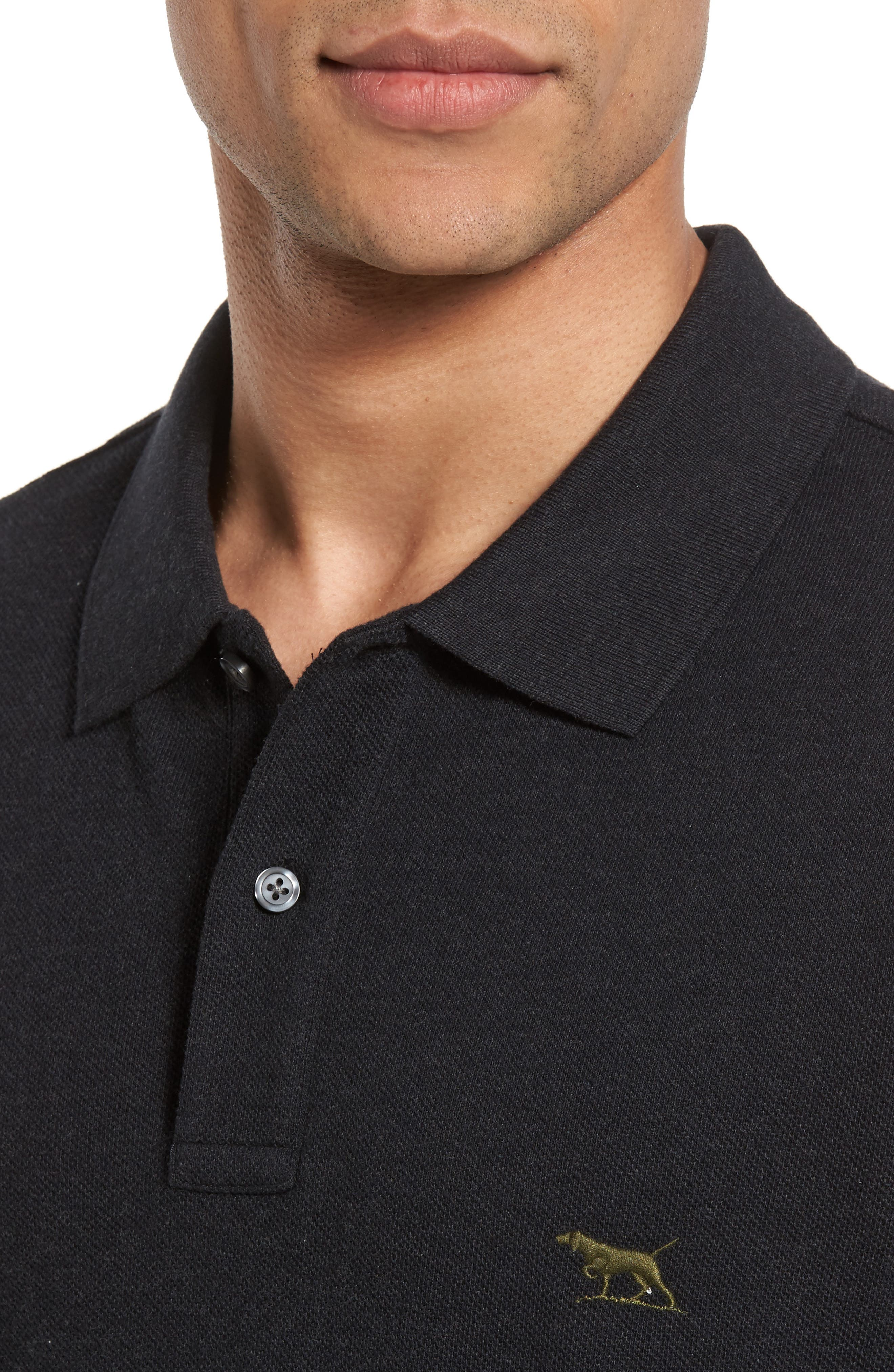 'The Gunn' Piqué Sports Fit Cotton Polo,                             Alternate thumbnail 4, color,                             CHARCOAL