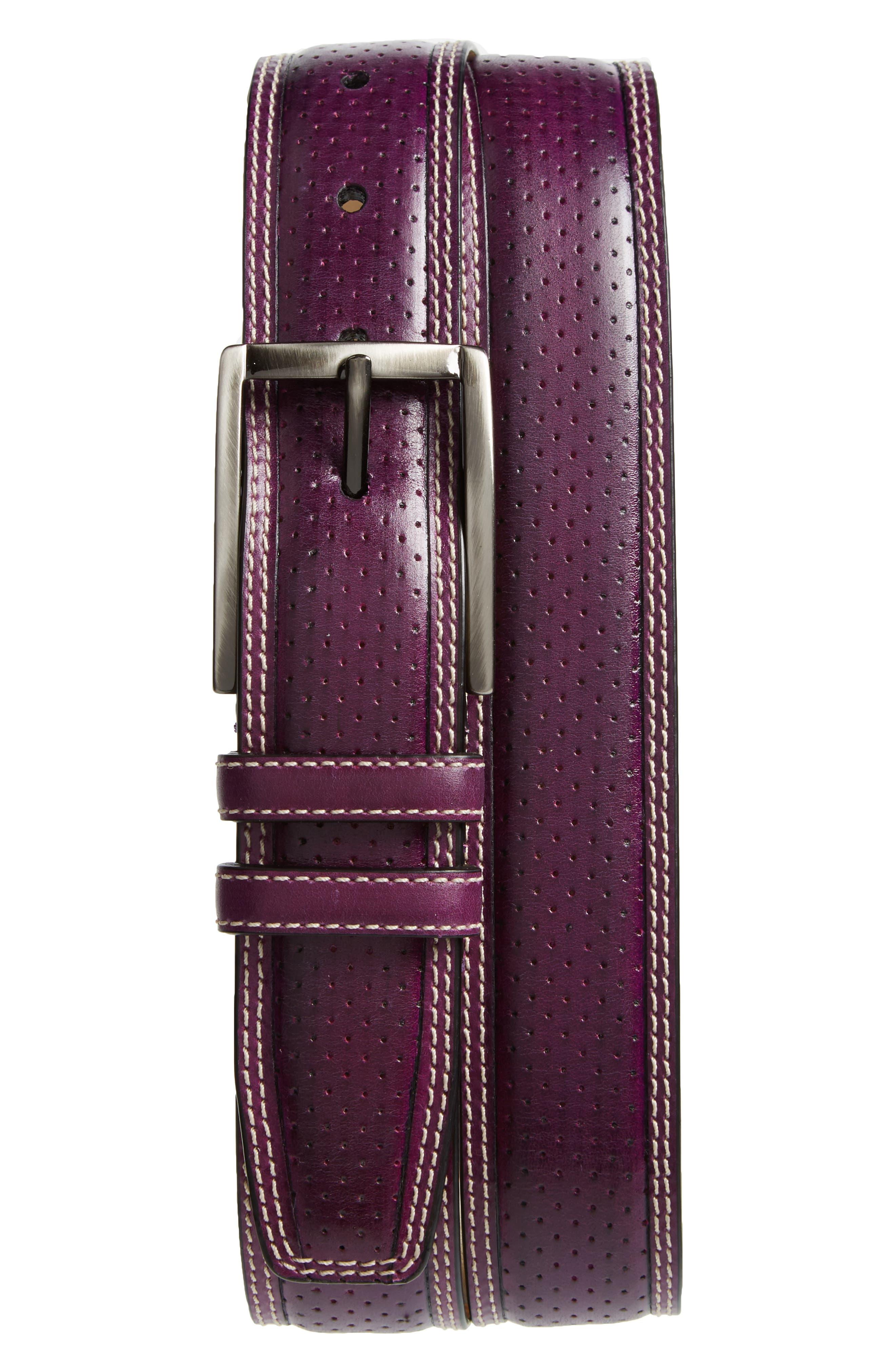 Alfa Perforated Leather Belt,                         Main,                         color, PURPLE