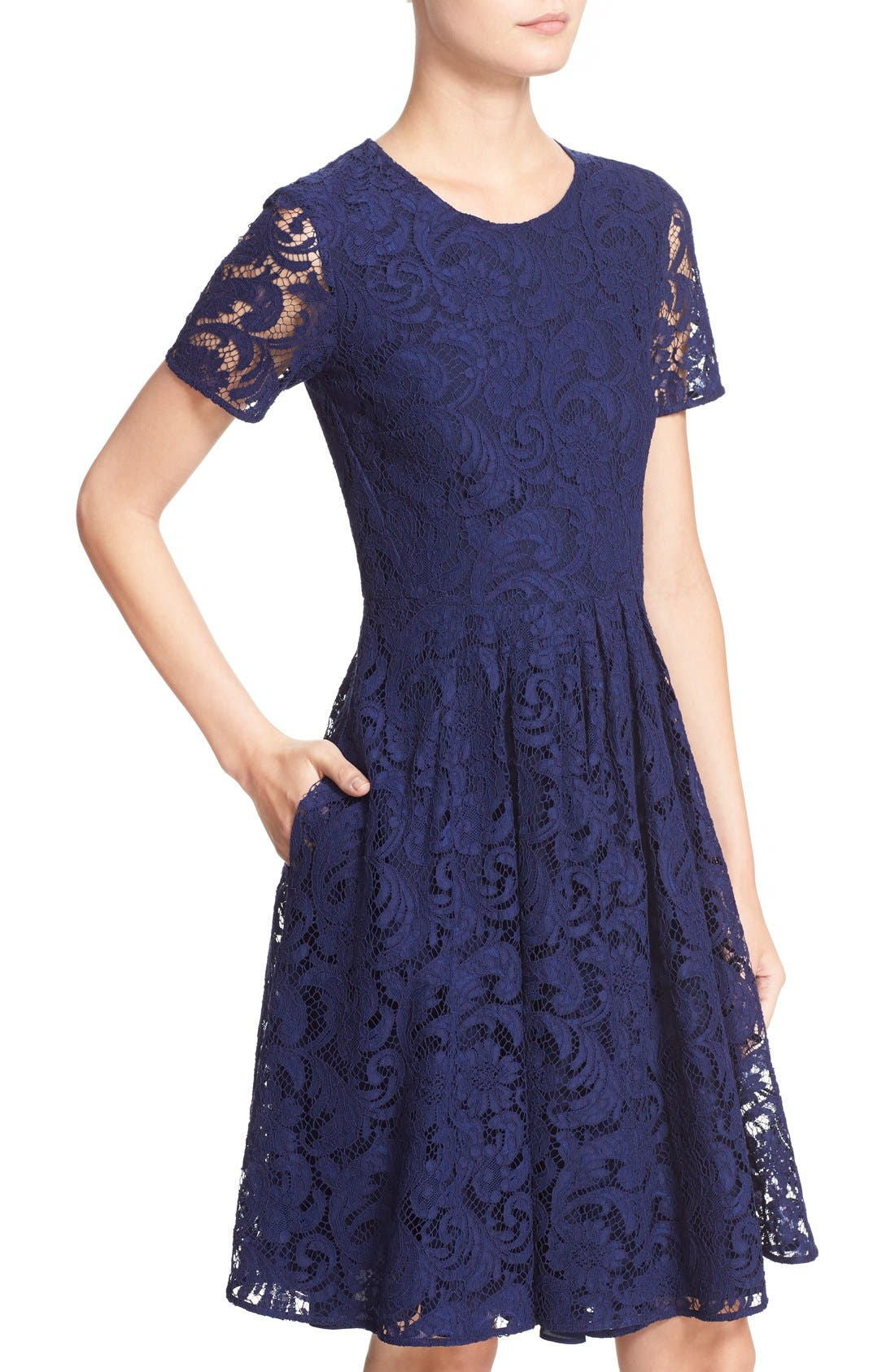 BURBERRY LONDON,                             'Alice' Short Sleeve Corded Lace Fit & Flare Dress,                             Alternate thumbnail 6, color,                             495