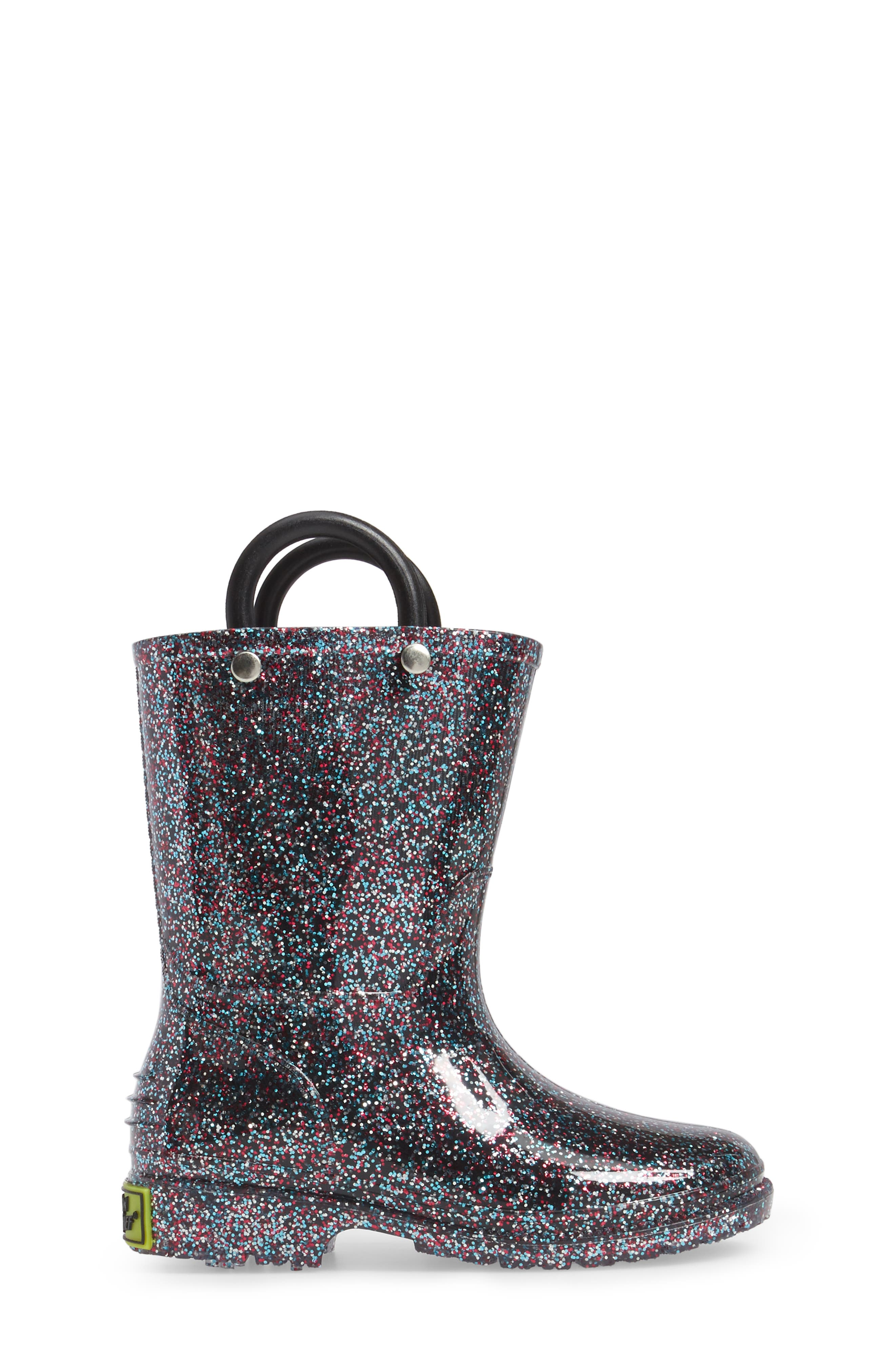 WESTERN CHIEF,                             Glitter Waterproof Rain Boot,                             Alternate thumbnail 3, color,                             MULTI