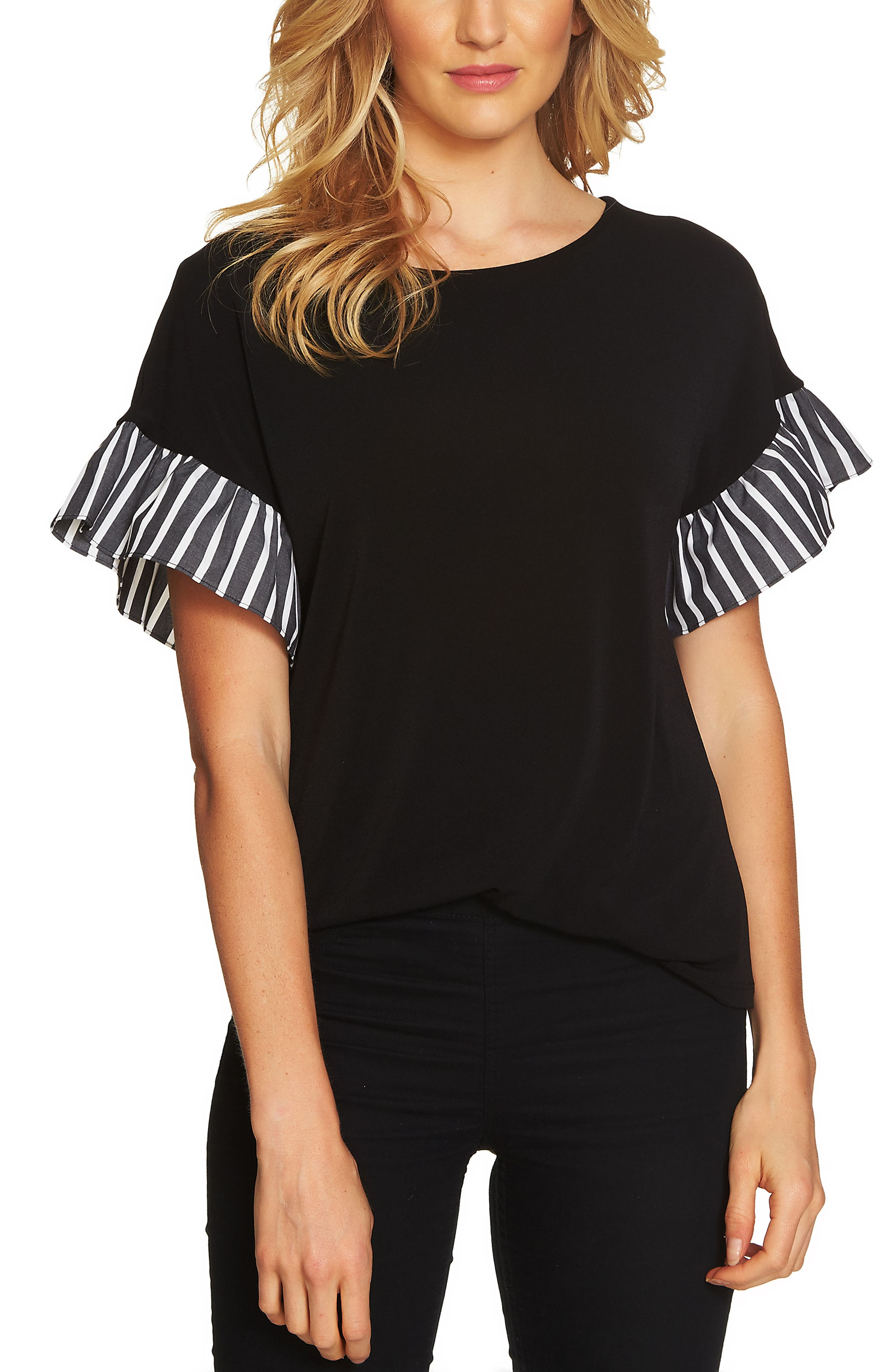 Stripe Ruffle Sleeve Top,                         Main,                         color, 016