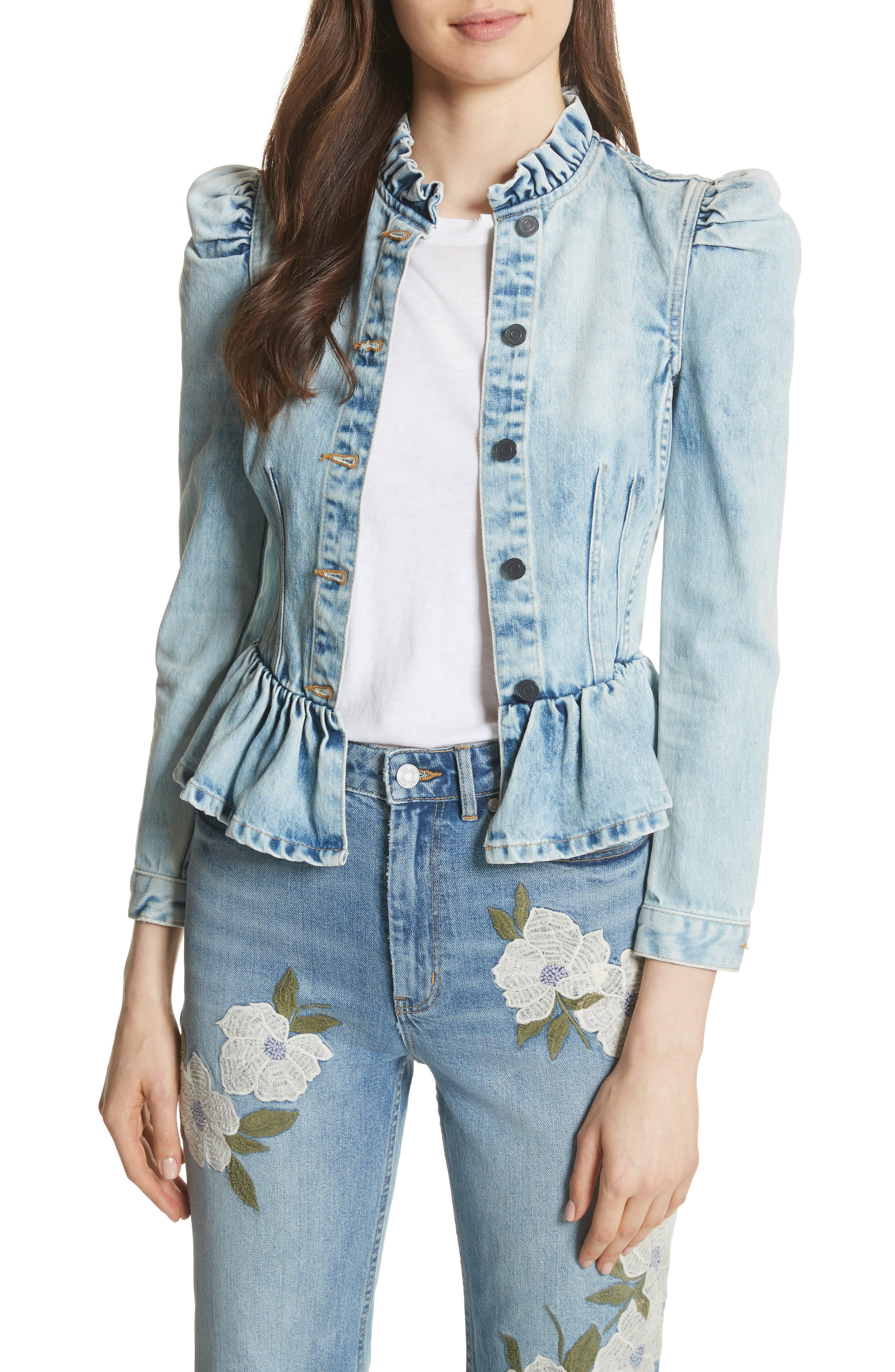 Denim Peplum Jacket,                         Main,                         color, NUAGE WASH