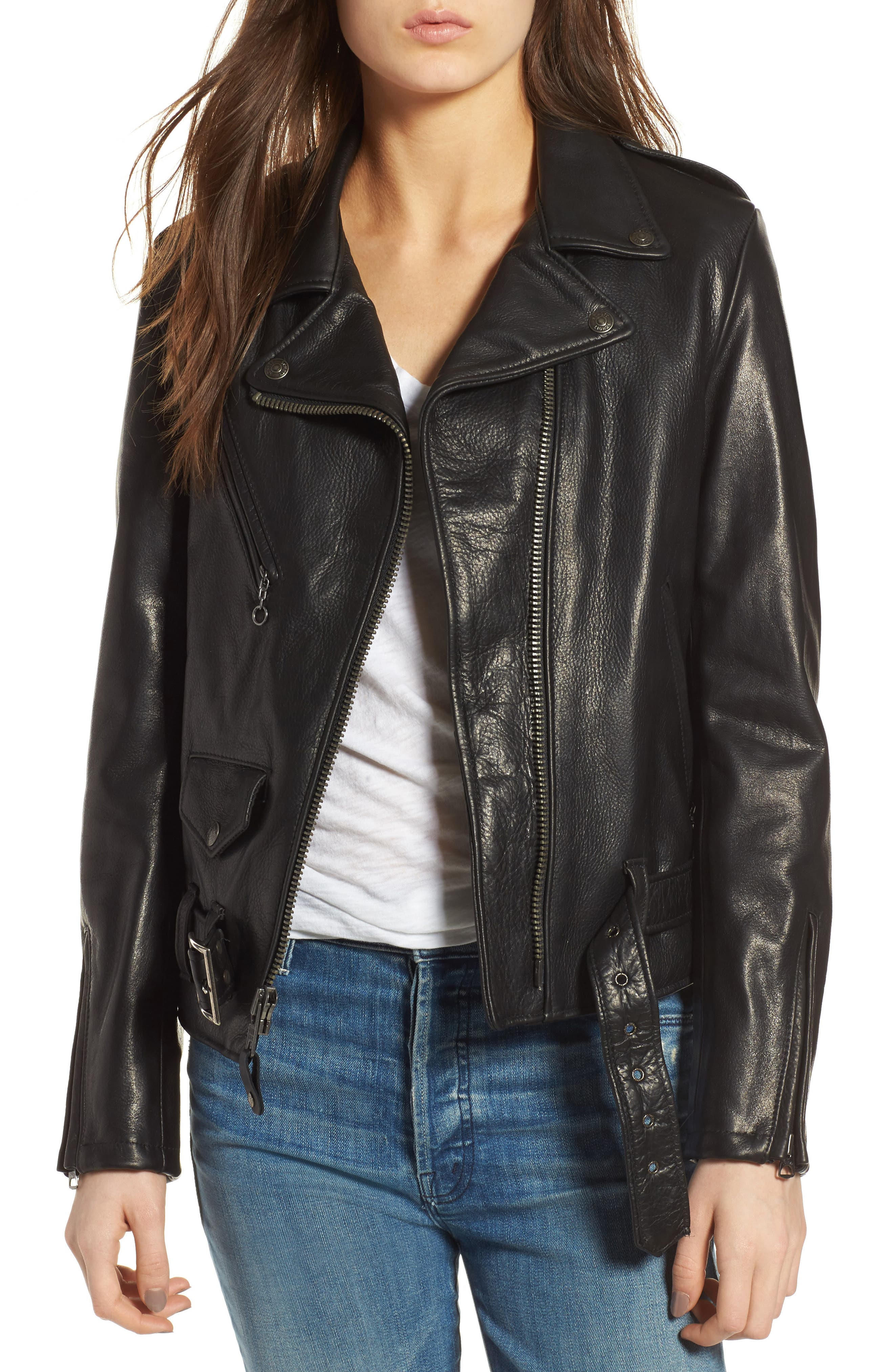 Lightweight Perfecto Leather Jacket,                         Main,                         color, BLACK