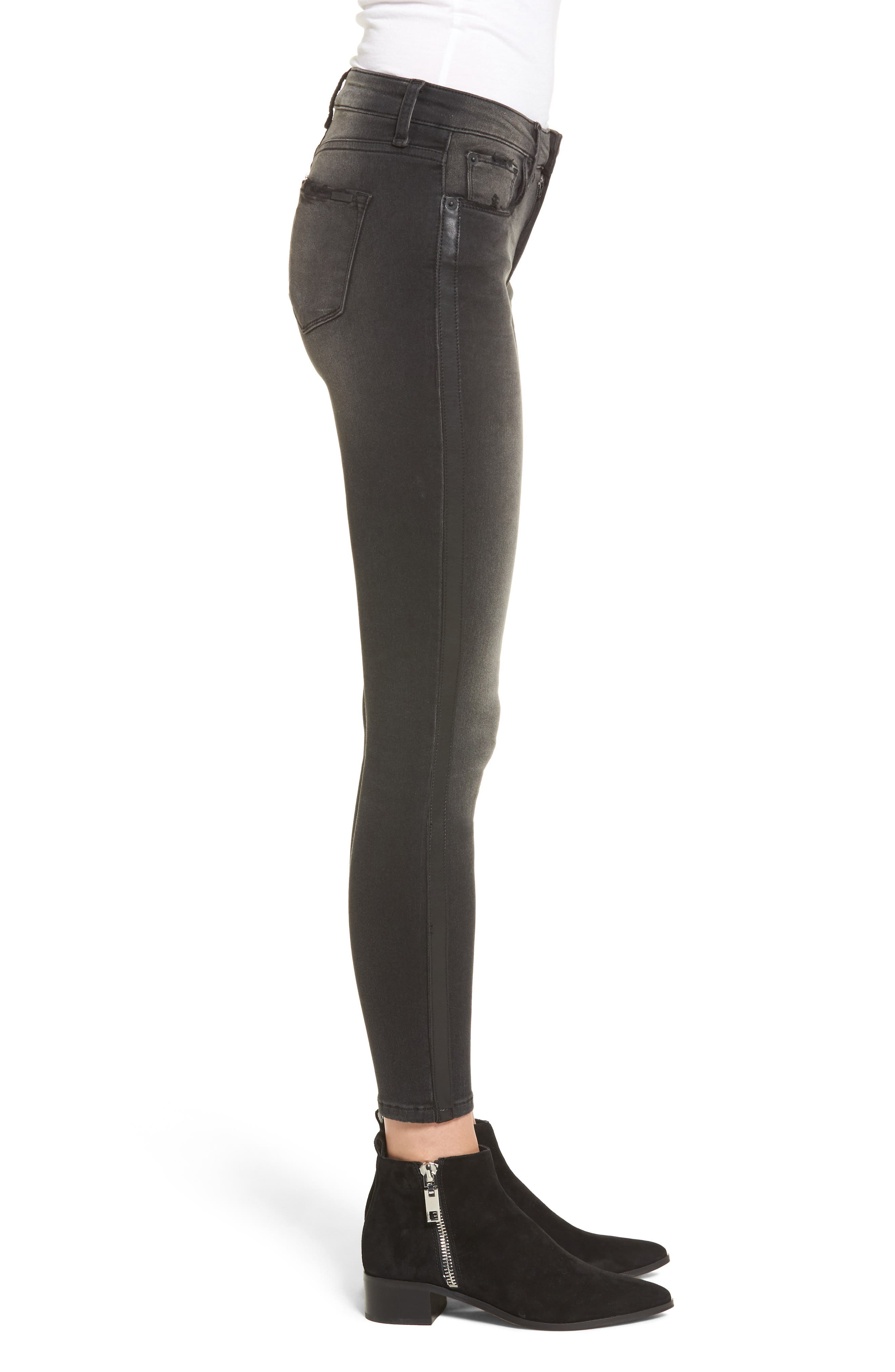 Faux Leather Stripe Skinny Jeans,                             Alternate thumbnail 3, color,                             001