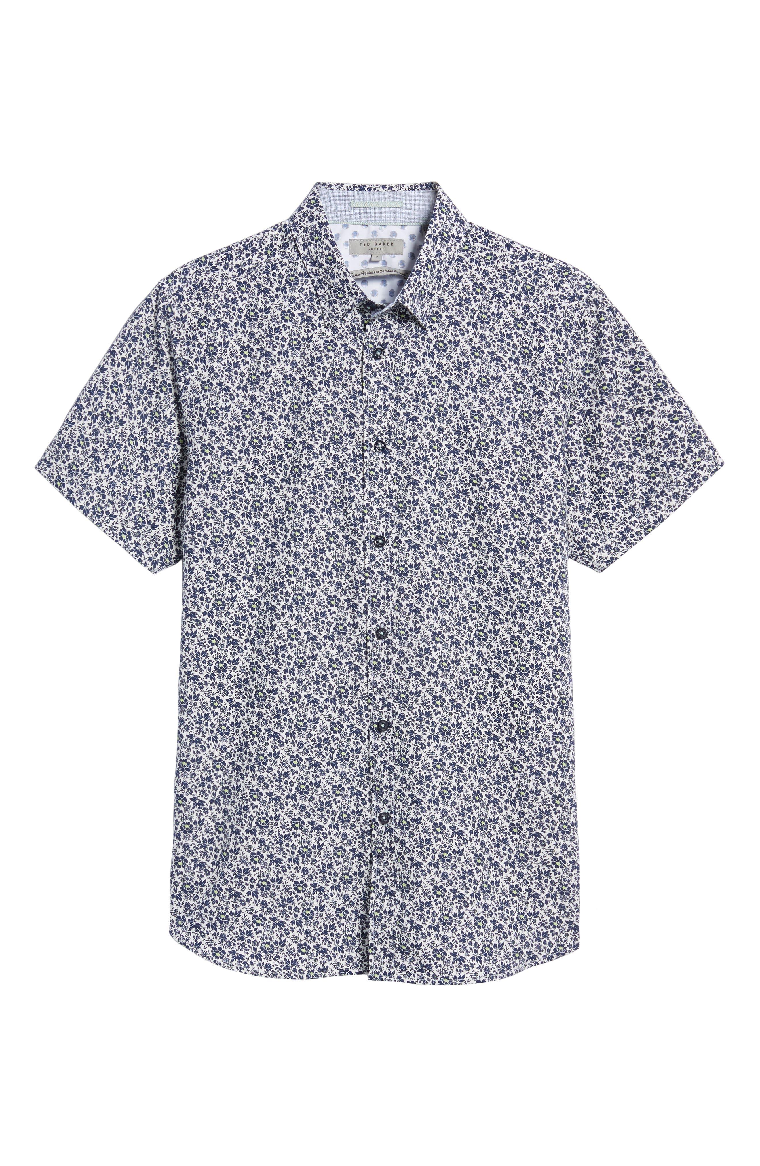 Alygar Slim Fit Floral Woven Shirt,                             Alternate thumbnail 6, color,                             402
