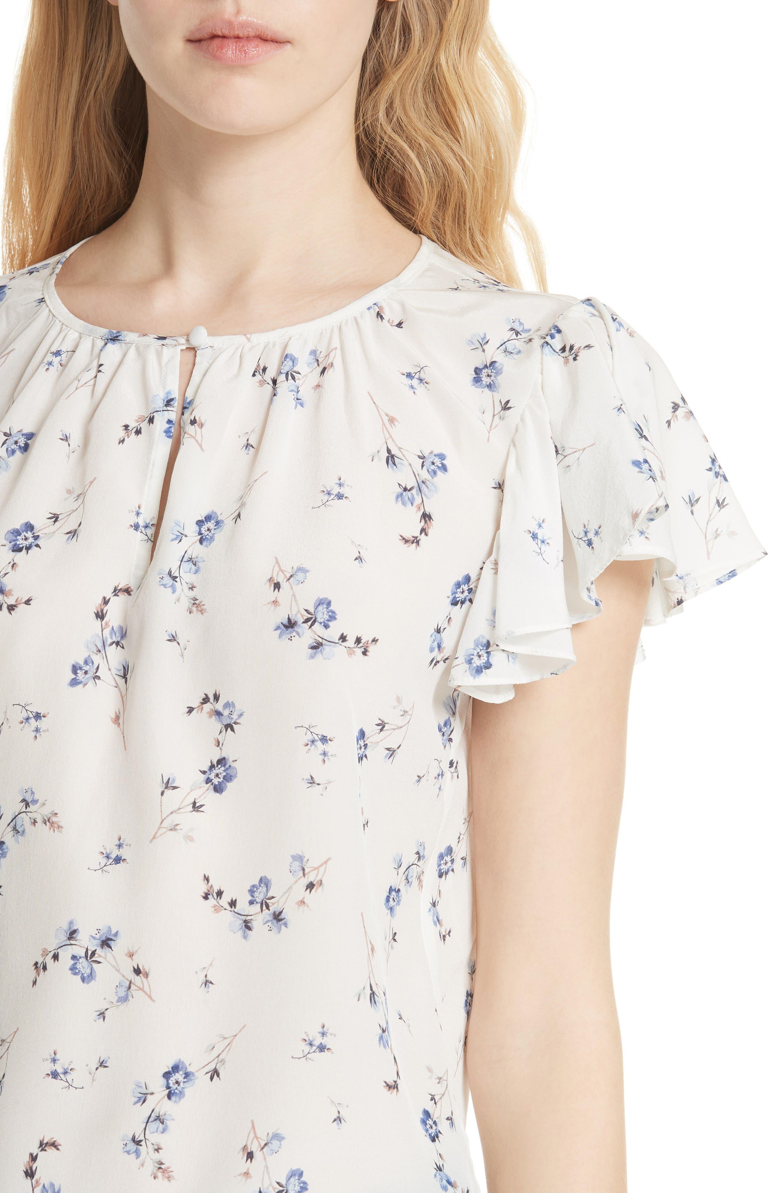 Francine Floral Silk Top,                             Alternate thumbnail 4, color,                             103