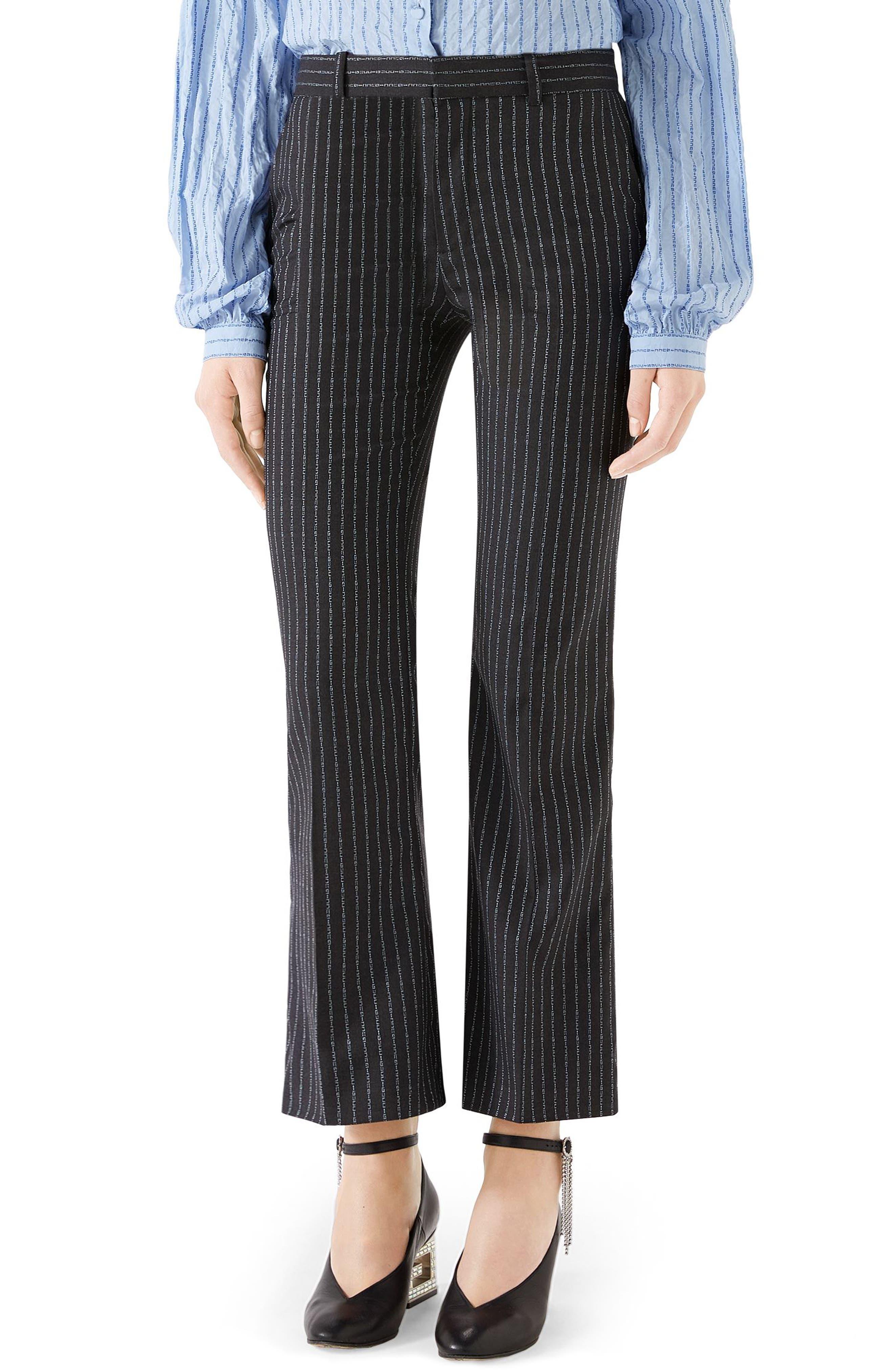 GUCCI,                             Gucci Stripe Bootcut Pants,                             Main thumbnail 1, color,                             1180 DARK GREY/ AZURE