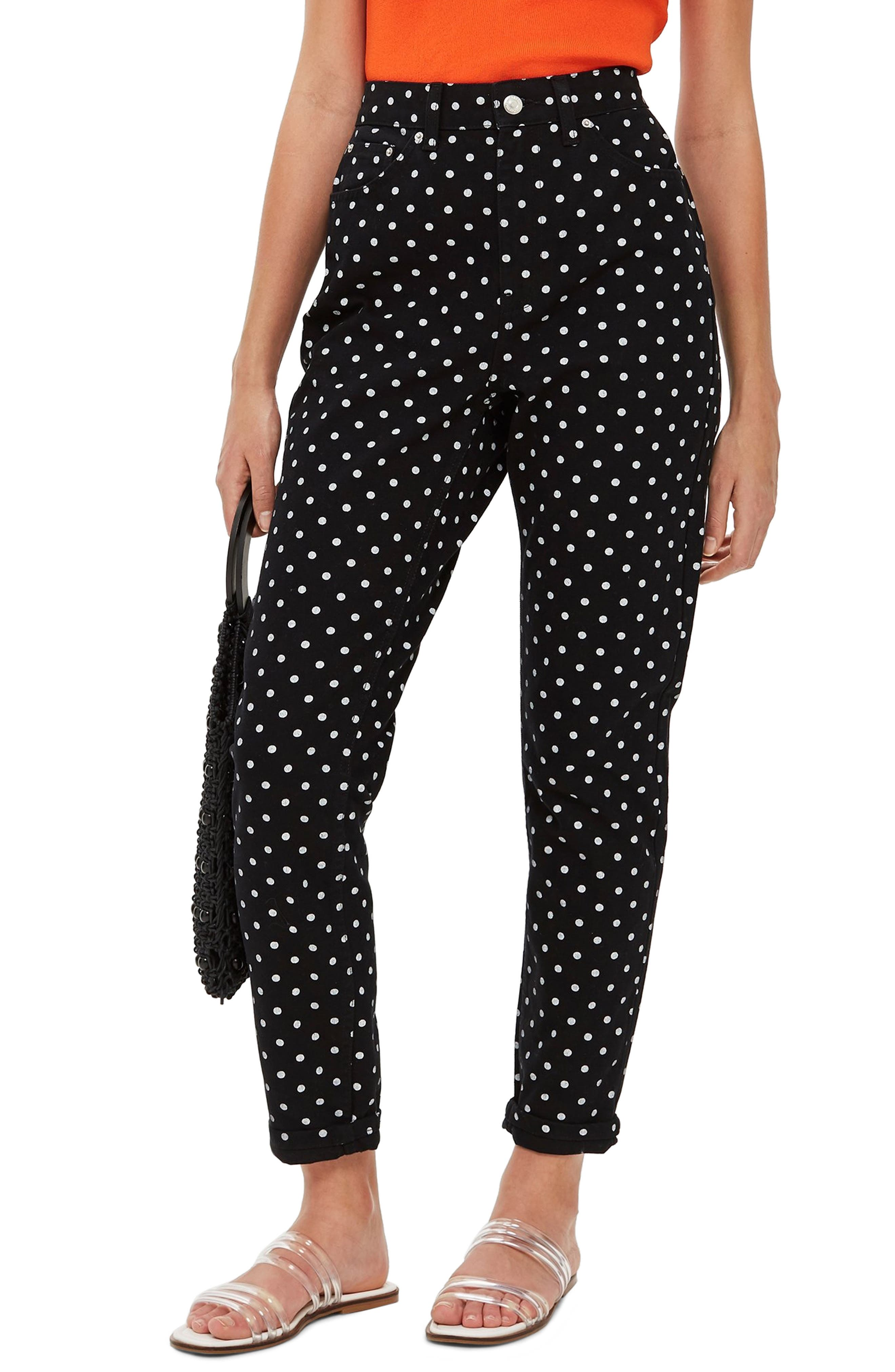 MOTO Polka Dot Mom Jeans,                             Main thumbnail 1, color,                             BLACK MULTI