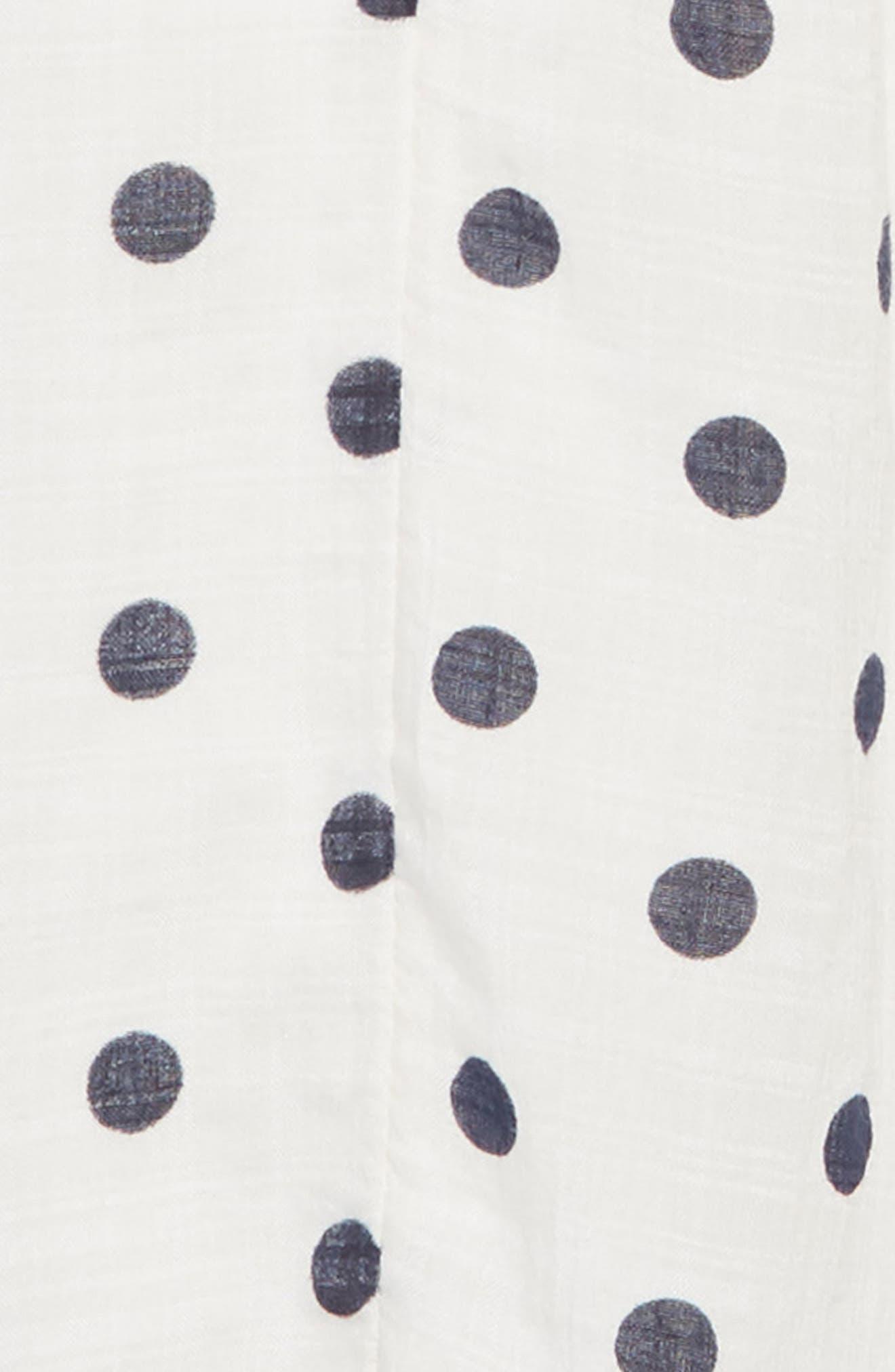 Embroidered Dot Dress,                             Alternate thumbnail 3, color,                             IVORY EGRET- NAVY DOT