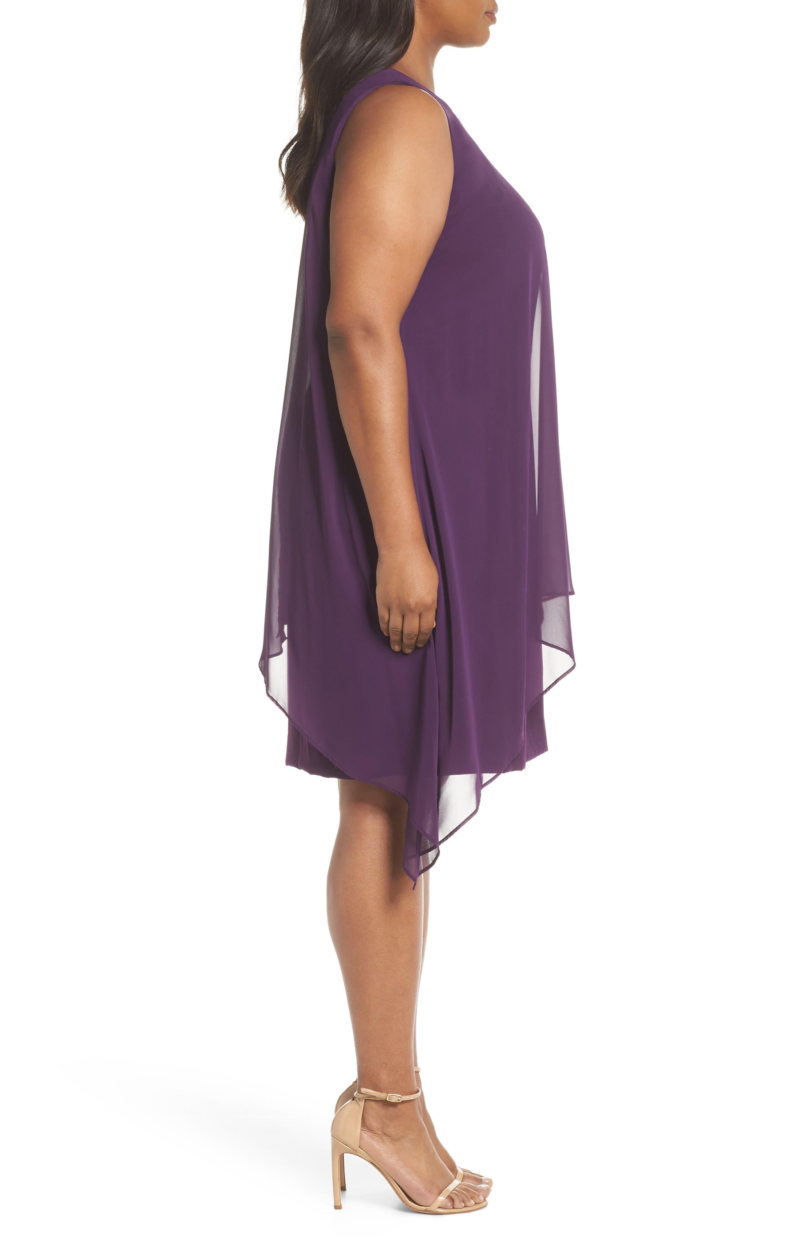 Chiffon Overlay Sheath Dress,                             Alternate thumbnail 3, color,                             PLUM