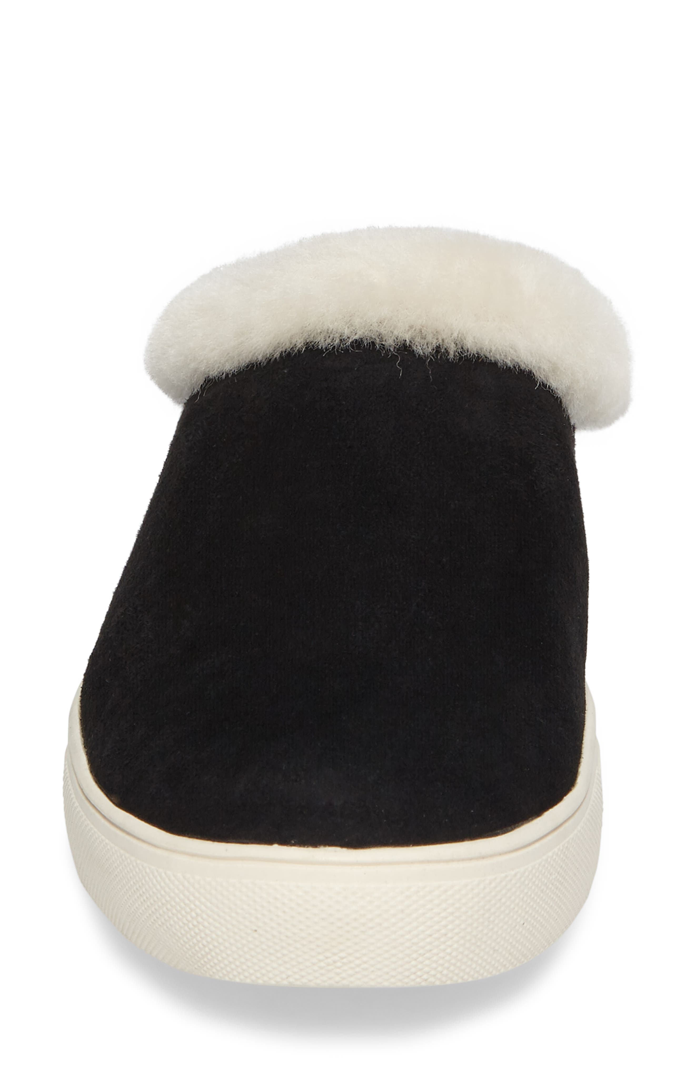 Leia Genuine Shearling Lined Slip-On,                             Alternate thumbnail 4, color,                             001