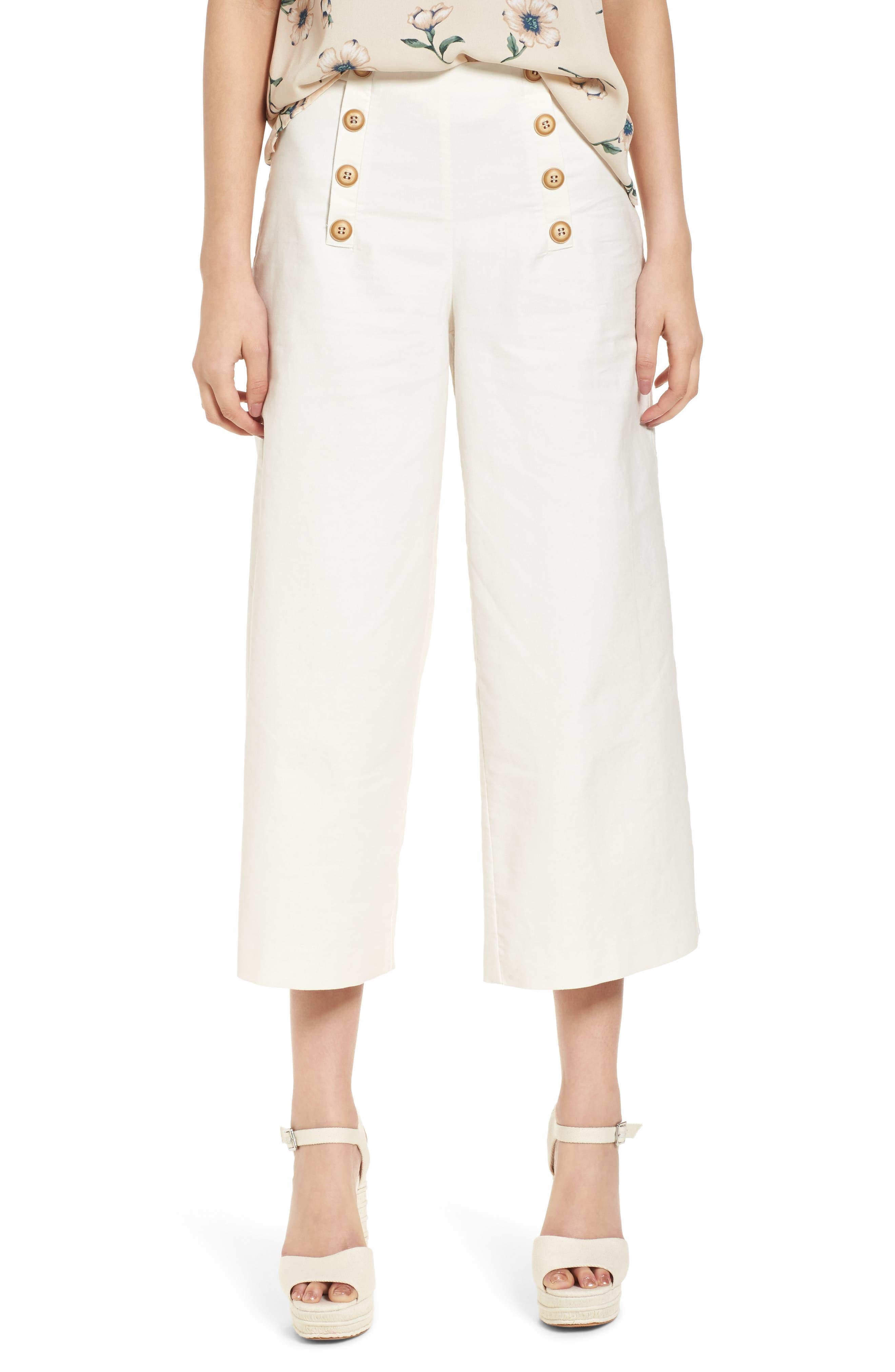 Button Front Culottes,                         Main,                         color, 100