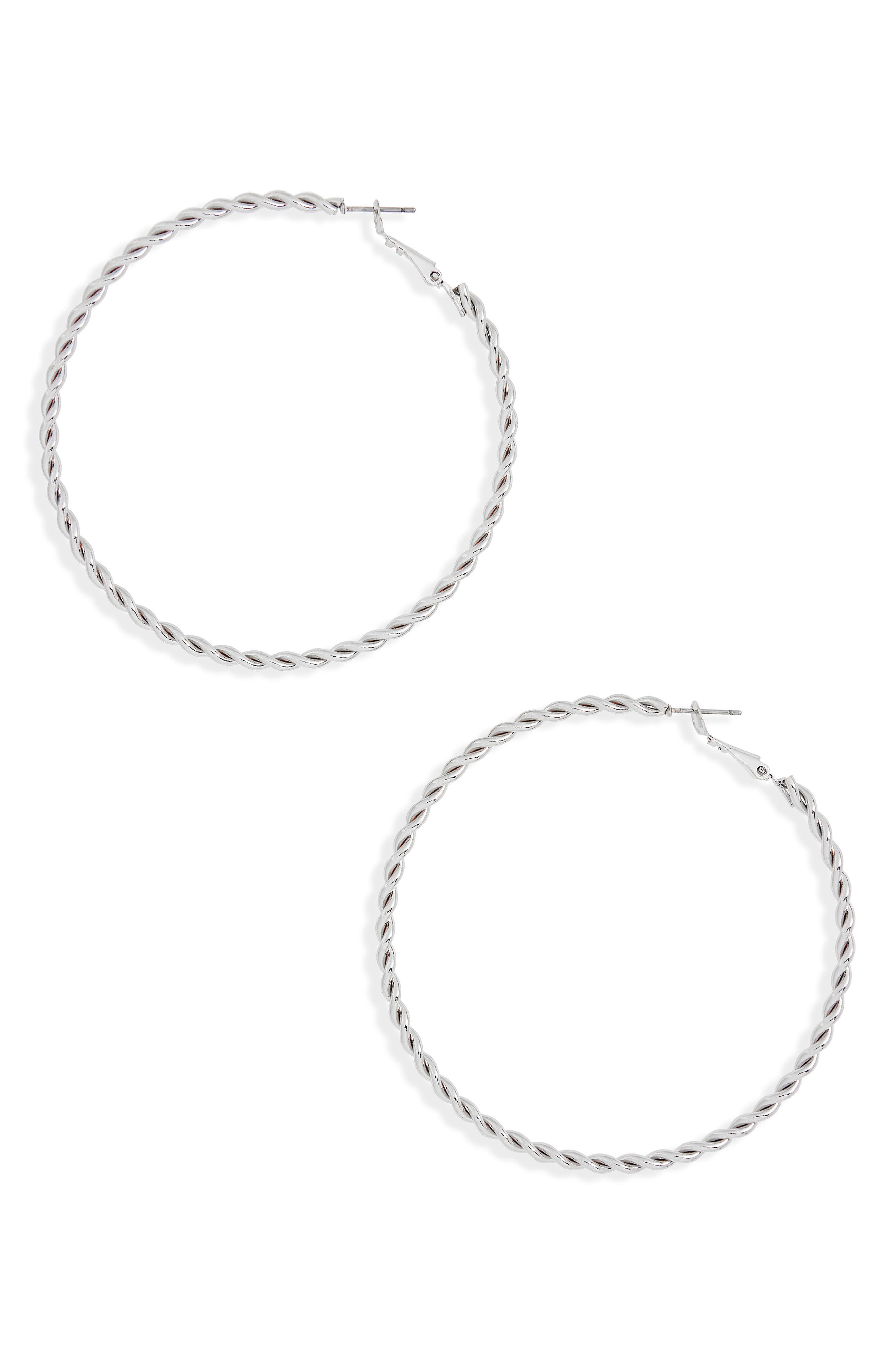 Twisted Hoop Earrings,                             Main thumbnail 1, color,                             040