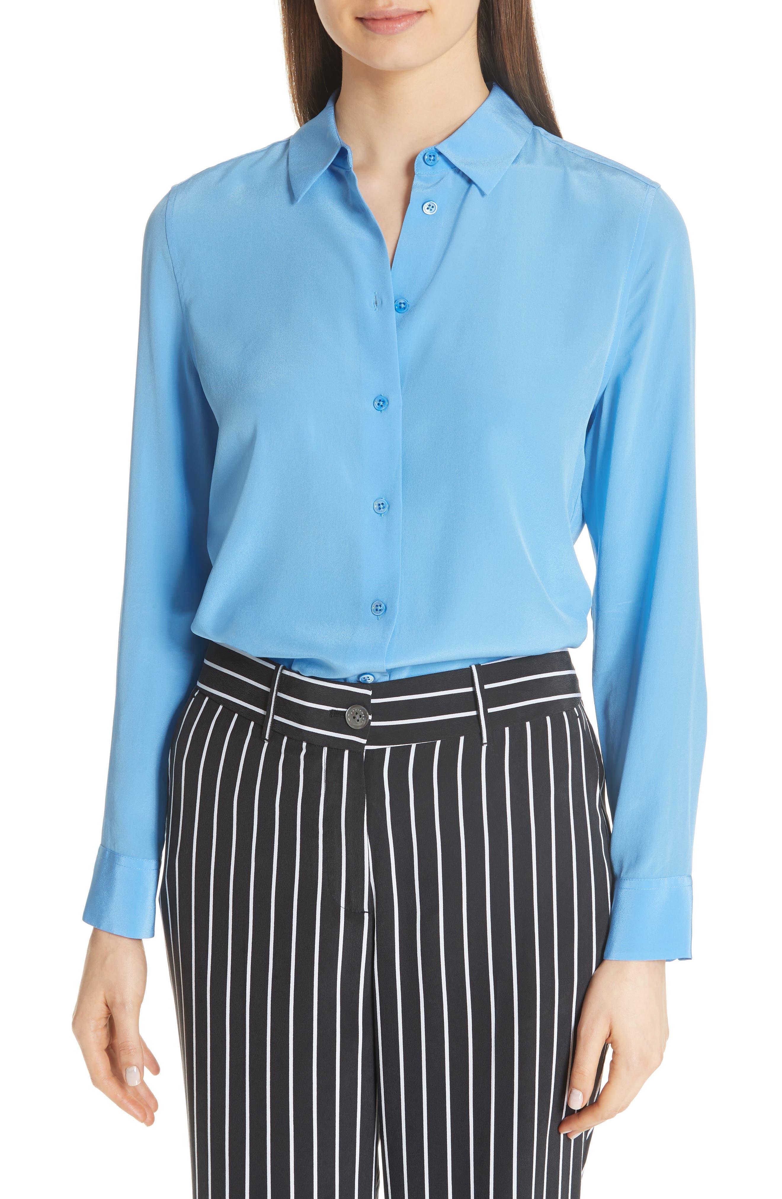 Essential Silk Blouse,                         Main,                         color, ACADEMY BLUE