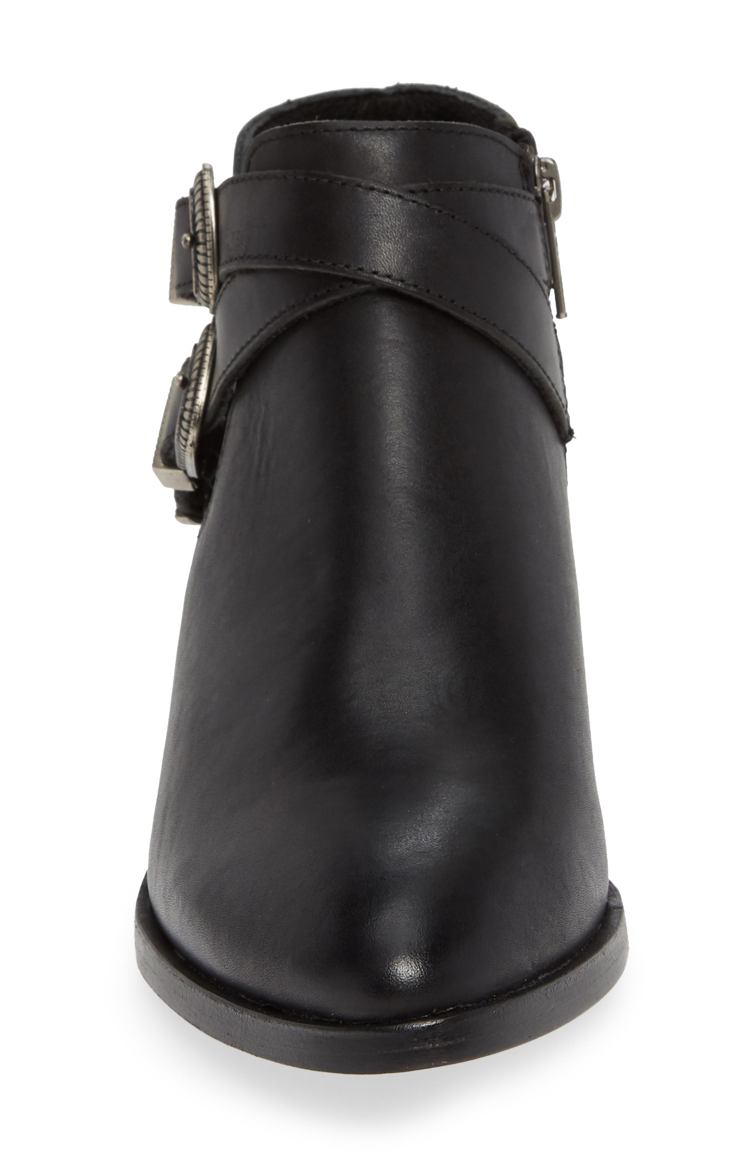 Ray Western Bootie,                             Alternate thumbnail 4, color,                             BLACK LEATHER
