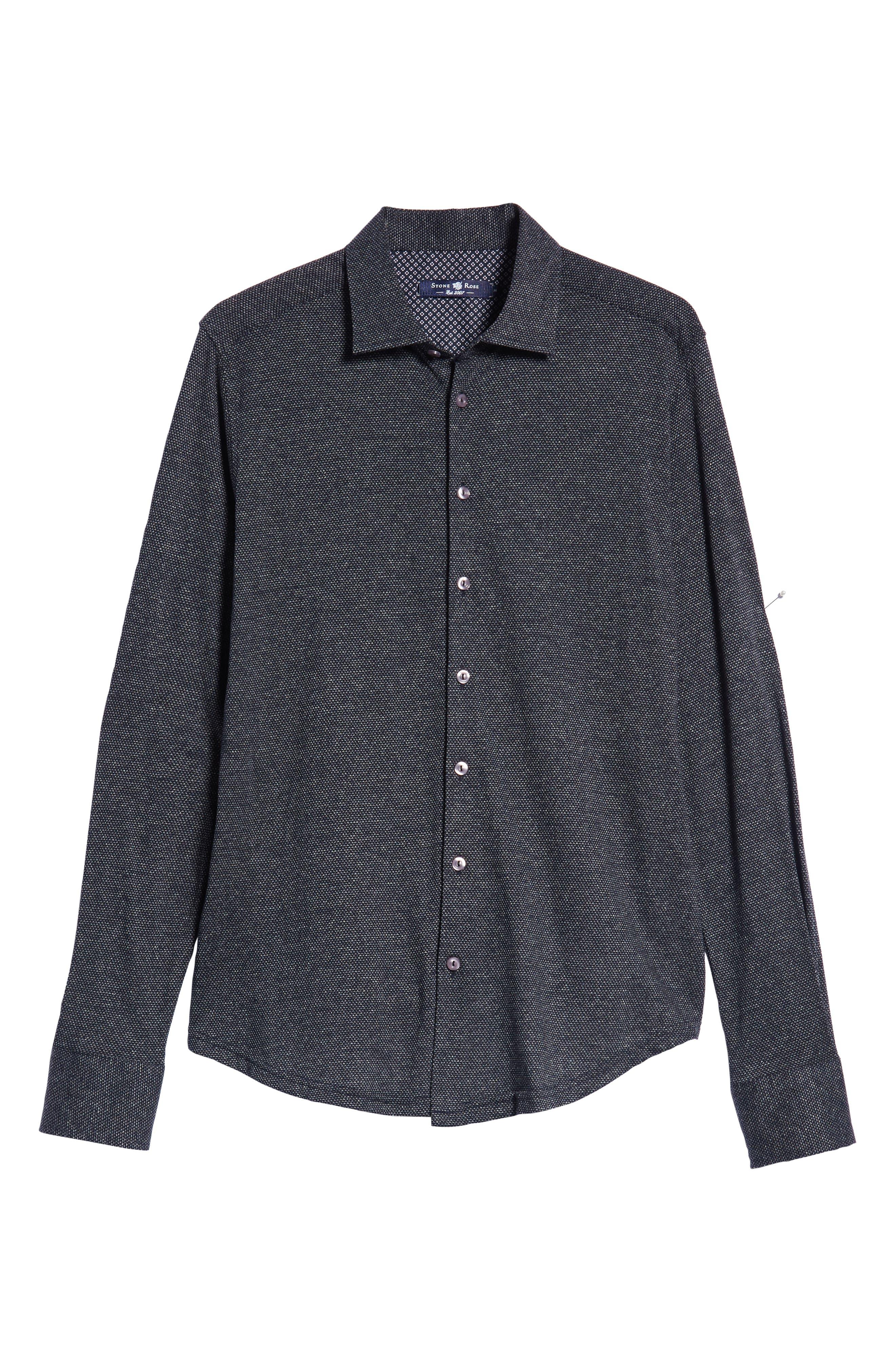 Trim Fit Jacquard Knit Sport Shirt,                             Alternate thumbnail 5, color,                             BLACK