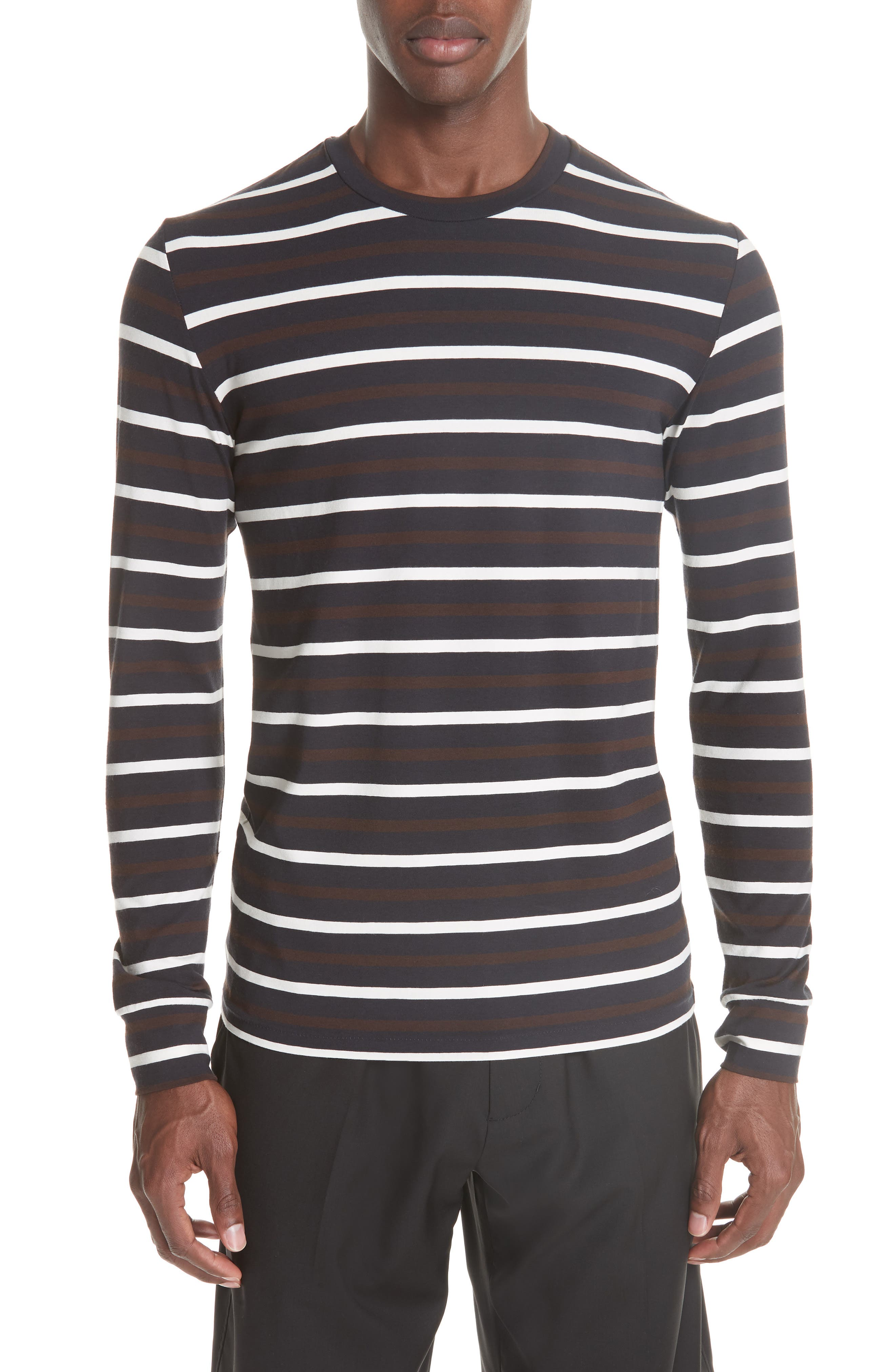 Technical Stripe Long Sleeve T-Shirt,                         Main,                         color, BROWN