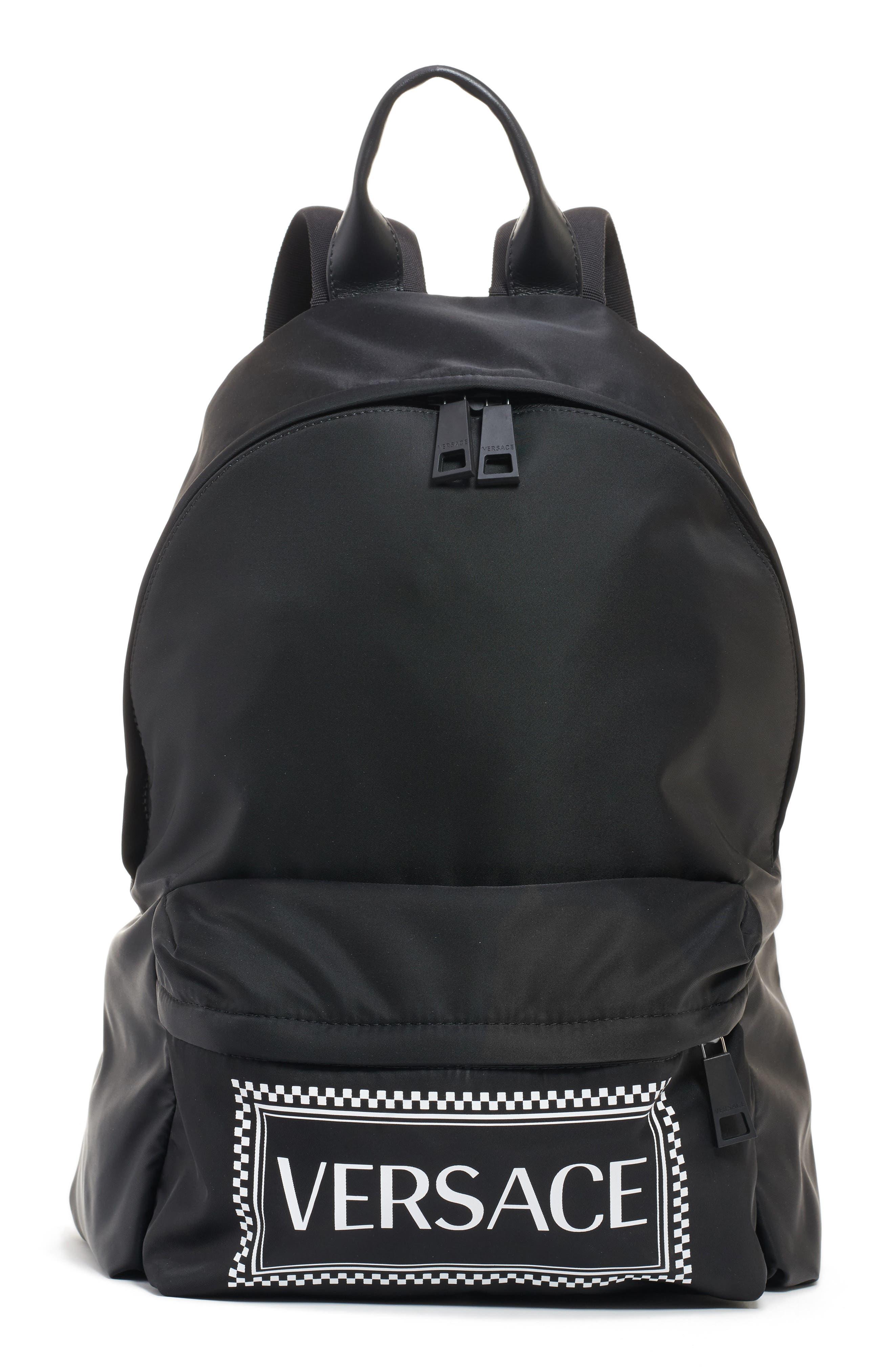 Logo Nylon Backpack,                             Main thumbnail 1, color,                             BLACK/ WHITE