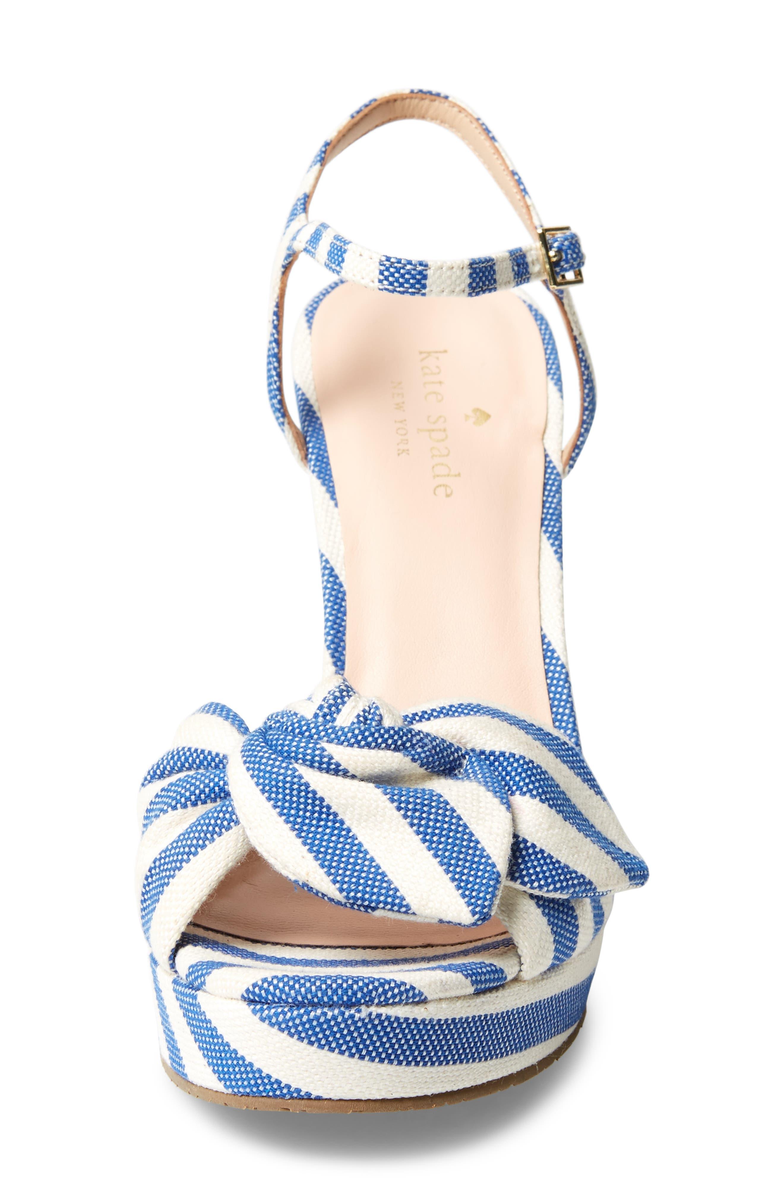 janae knot platform wedge sandal,                             Alternate thumbnail 4, color,                             BLUE/CREAM STRIPE