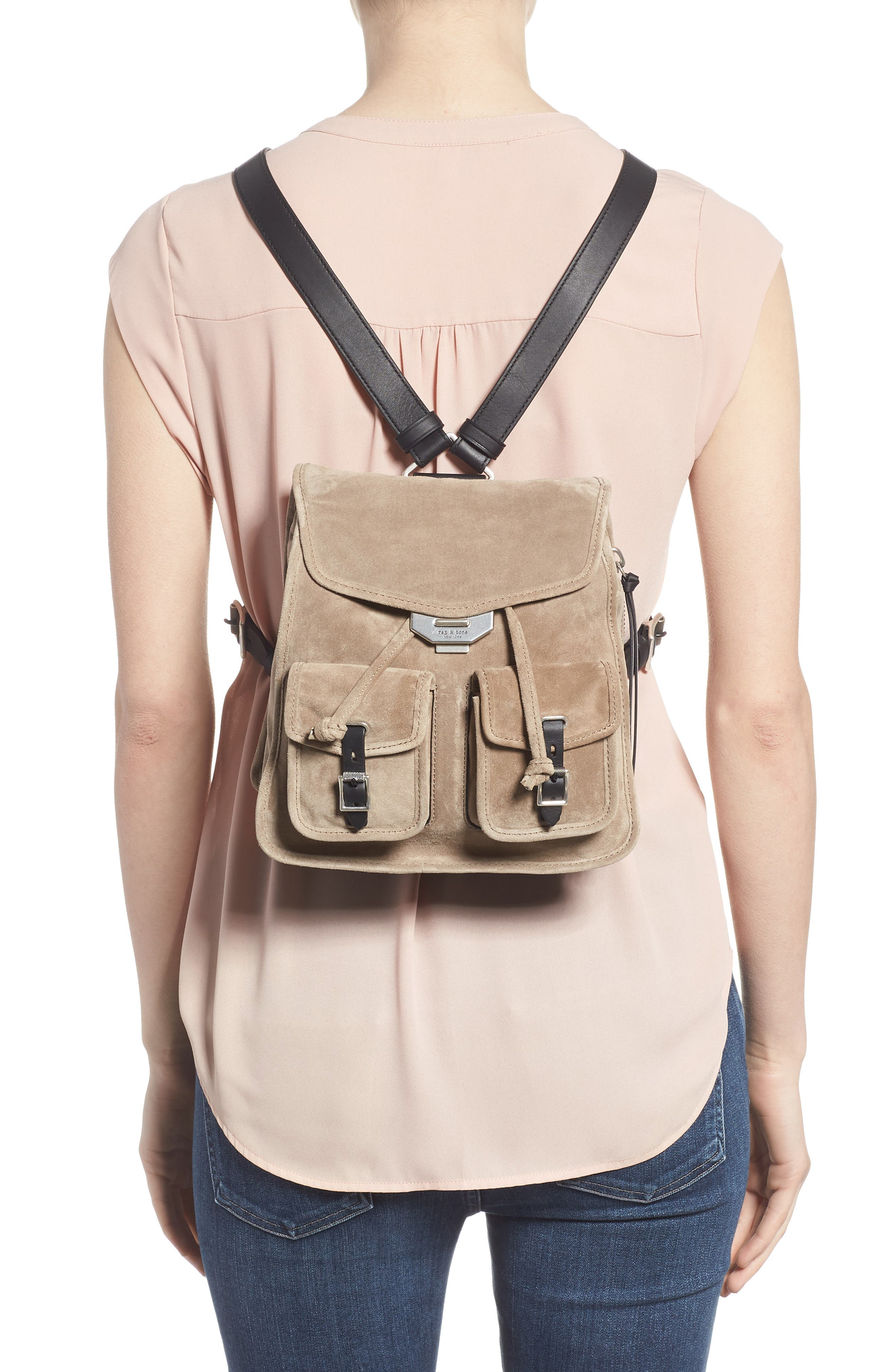 Small Suede Field Backpack,                             Alternate thumbnail 2, color,                             WARM GREY SUEDE