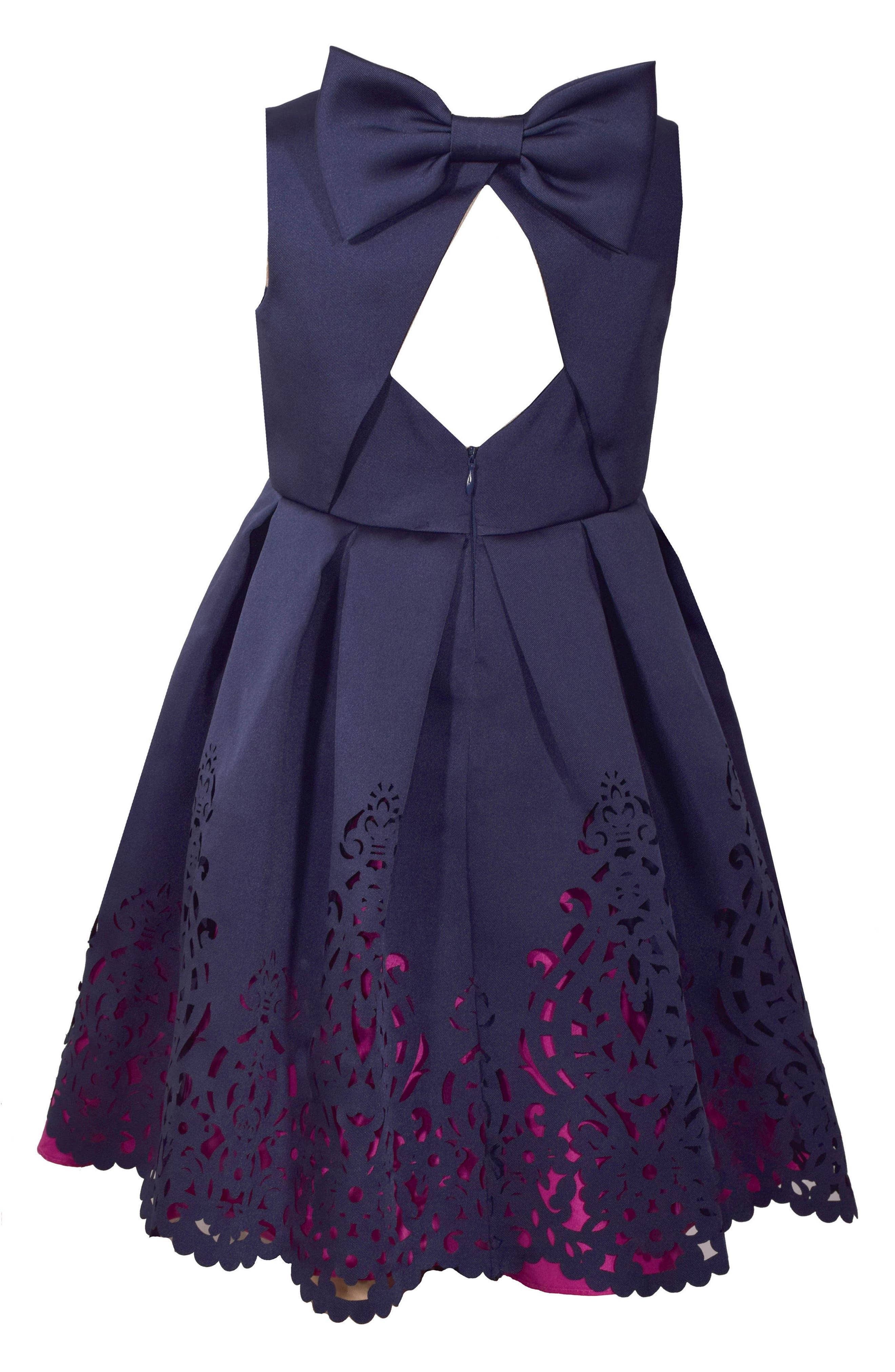 Mikado Fit & Flare Dress,                             Alternate thumbnail 2, color,                             NAVY