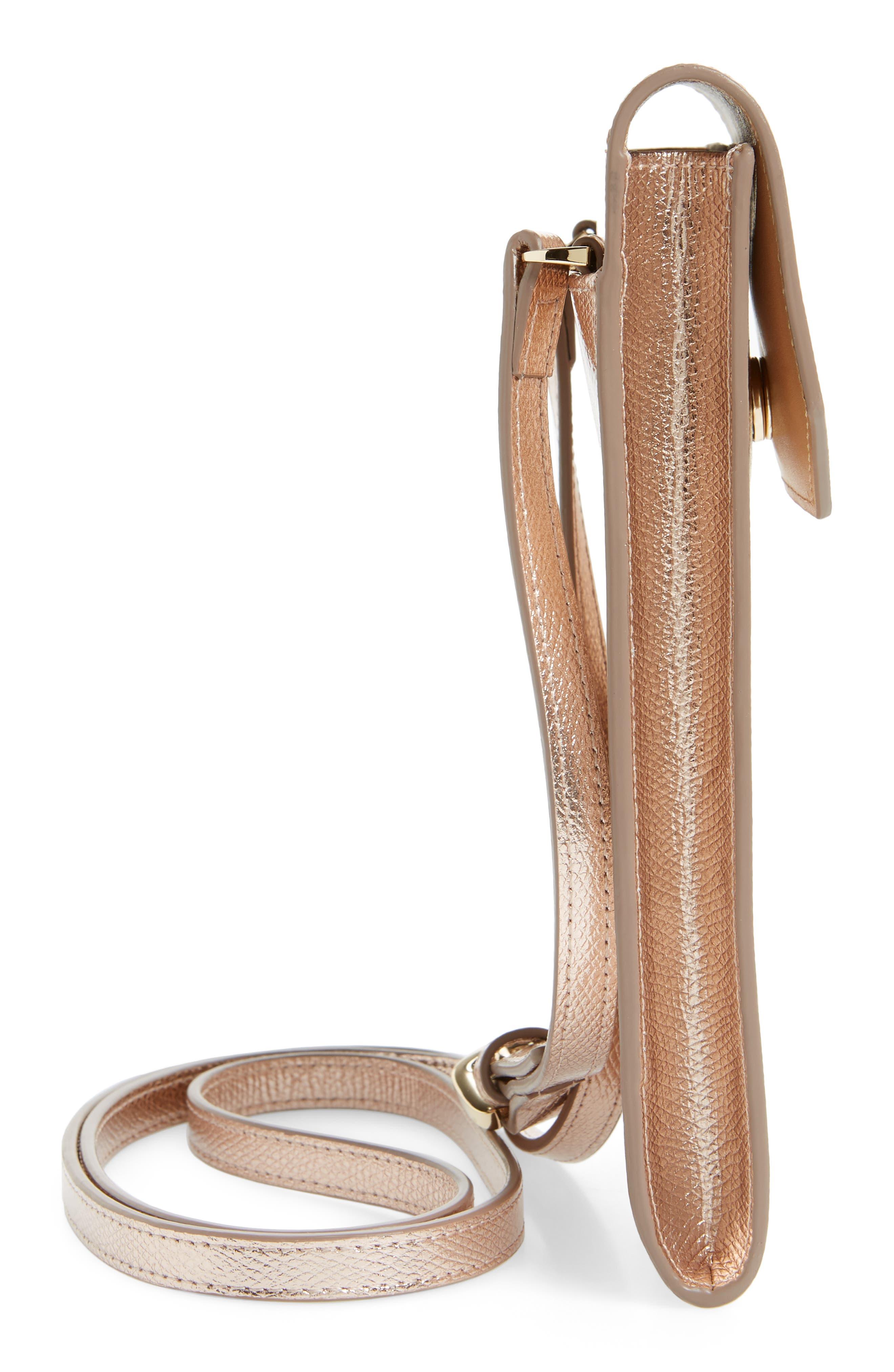 Metallic Leather Phone Crossbody Bag,                             Alternate thumbnail 5, color,                             220