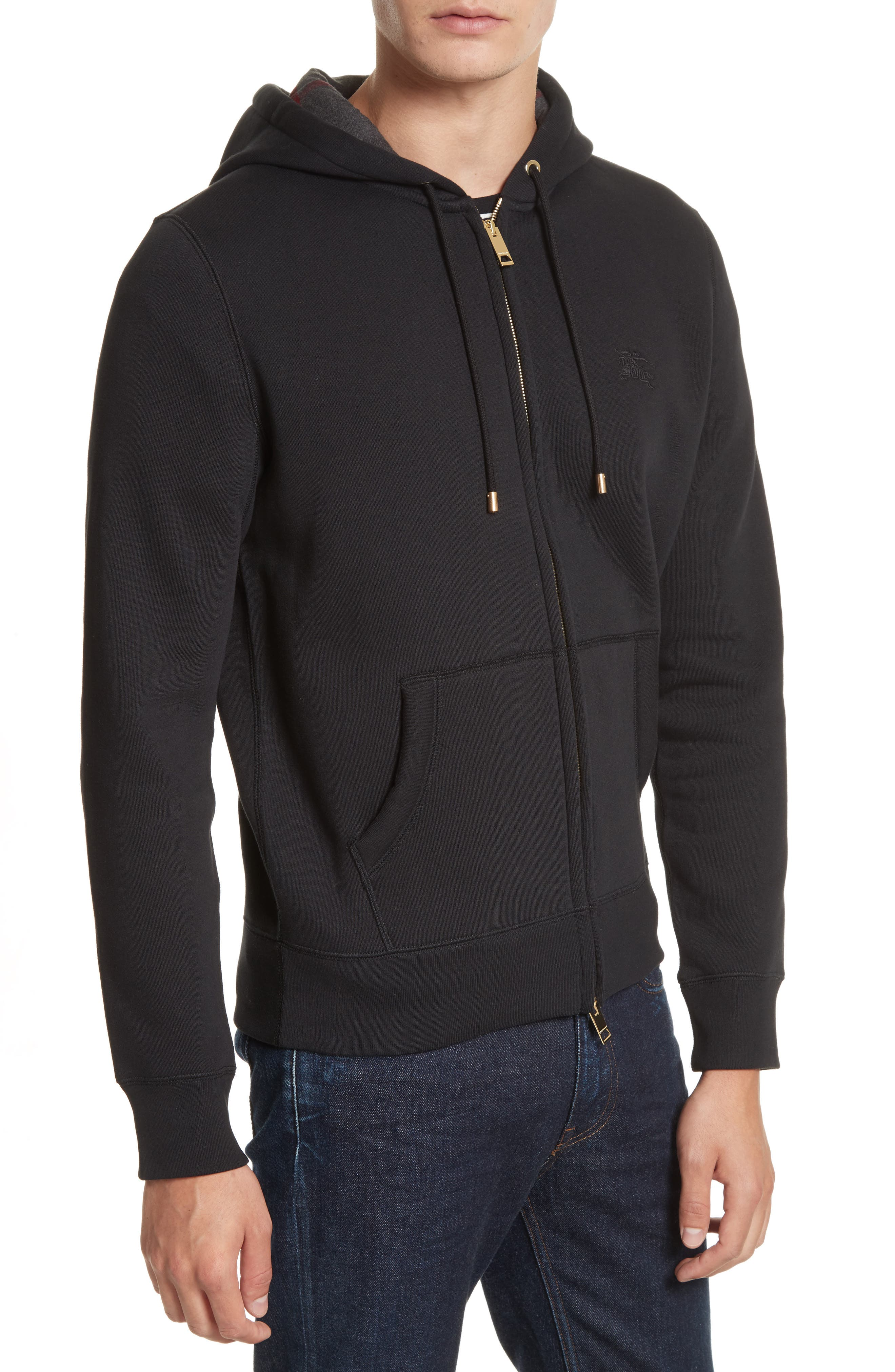 Claredon Regular Fit Zip Hoodie,                             Alternate thumbnail 4, color,                             001