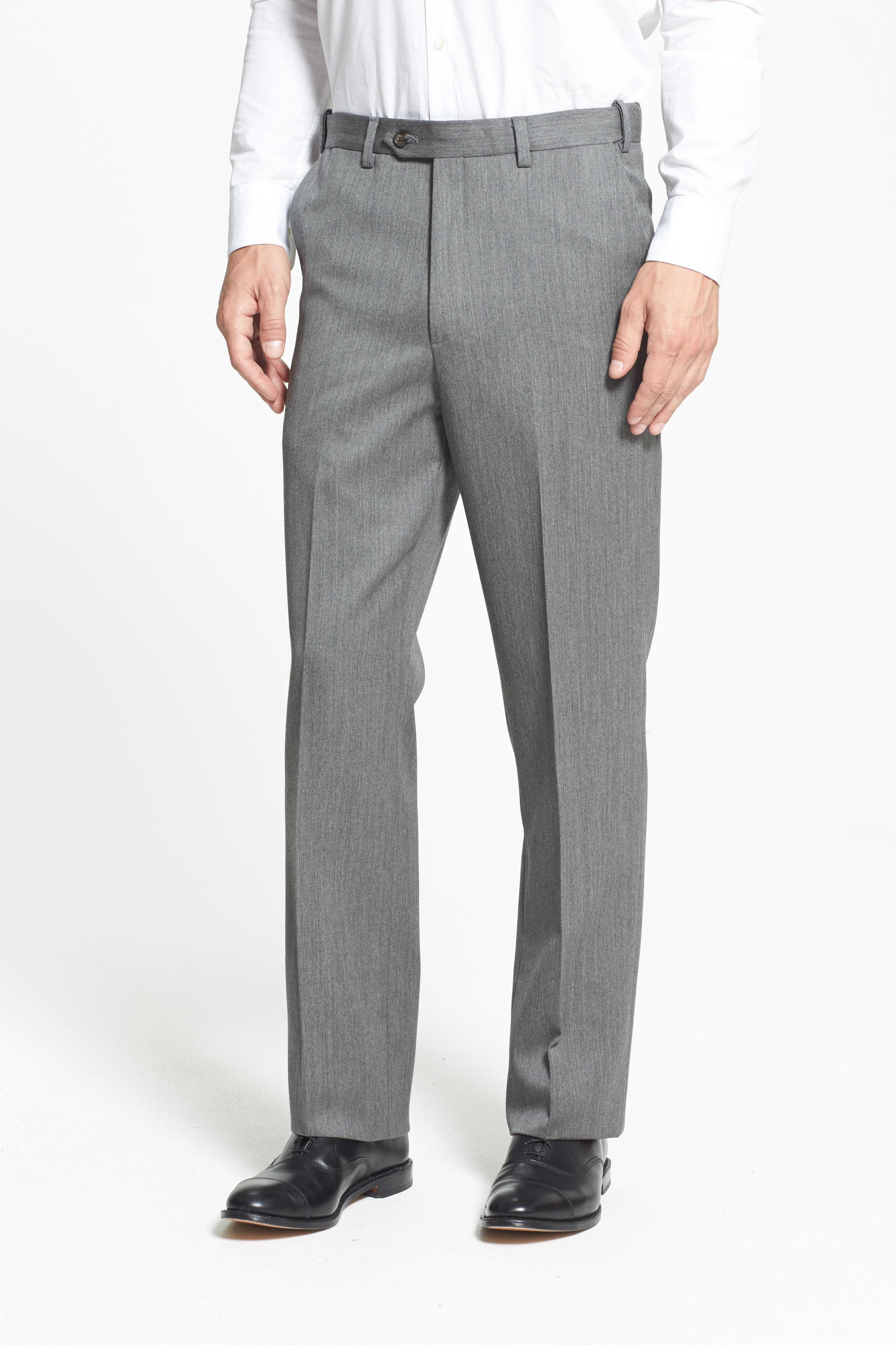 Self Sizer Waist Flat Front Wool Gabardine Trousers,                             Alternate thumbnail 2, color,                             MEDIUM GREY