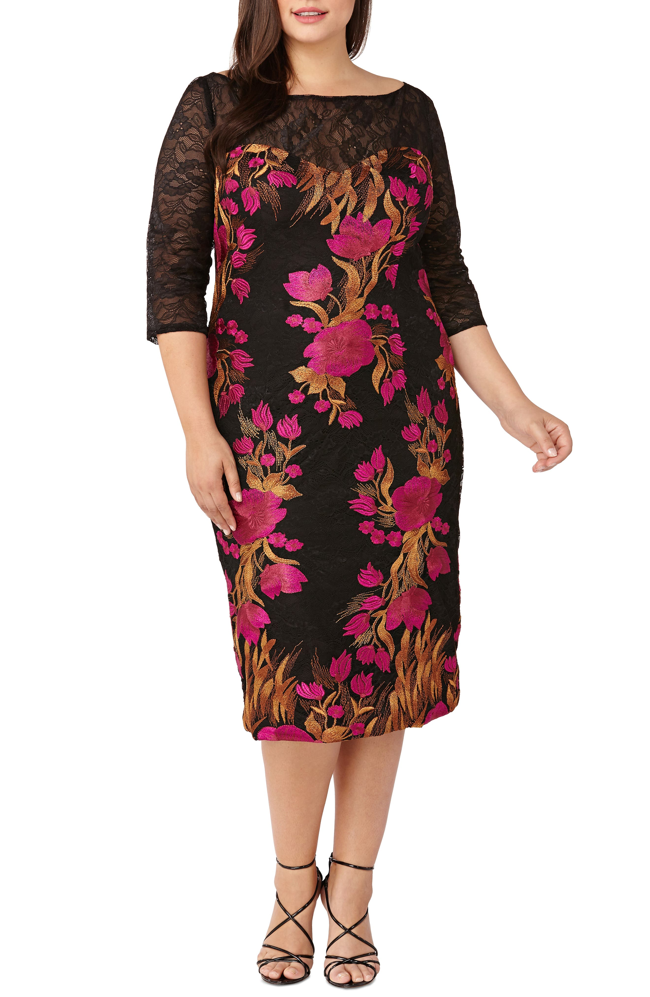 Embroidered Lace Cocktail Dress,                             Main thumbnail 1, color,                             MAGENTA/ MULTI