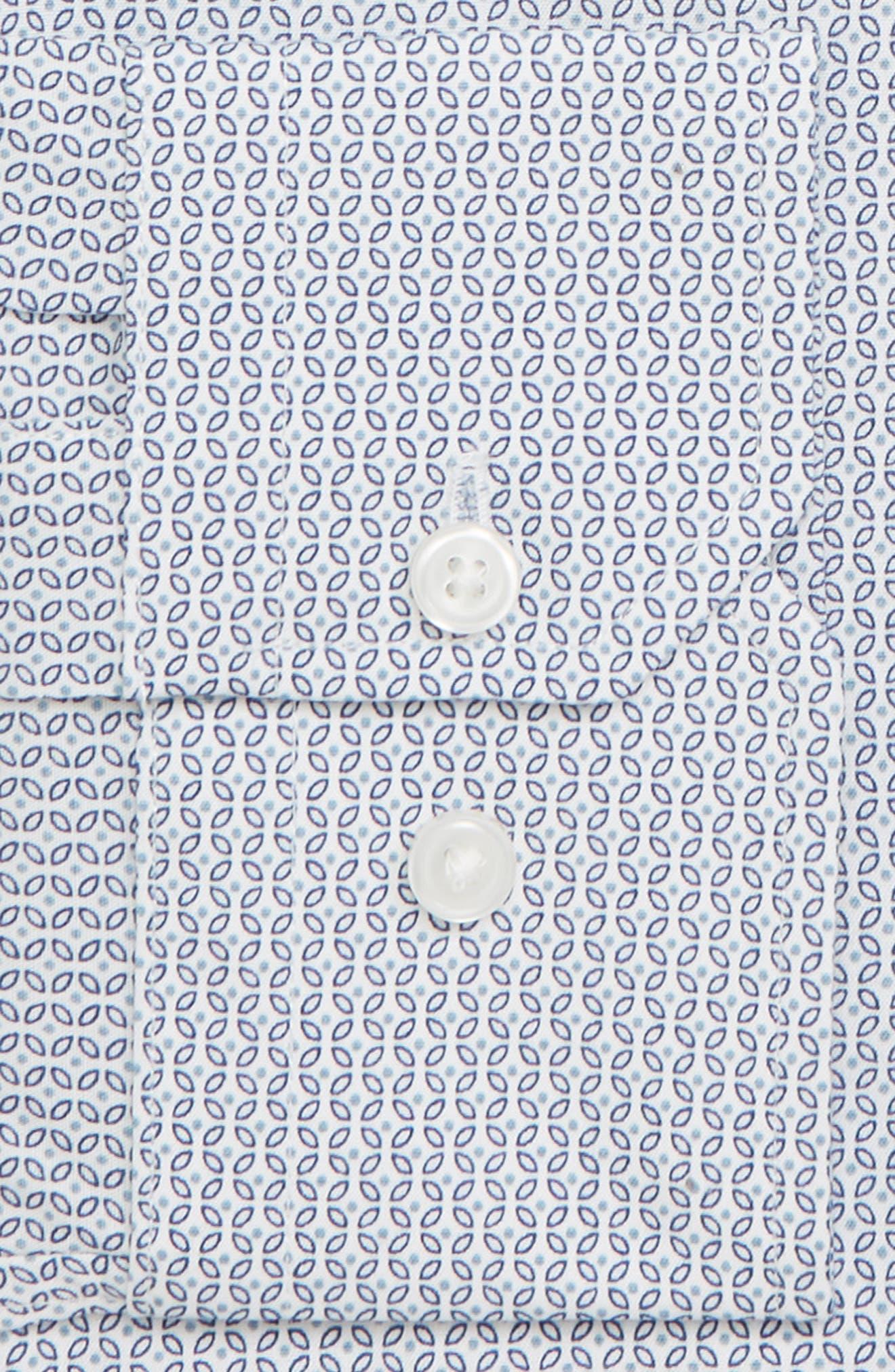 Trim Fit Geometric Print Dress Shirt,                             Alternate thumbnail 6, color,                             BLUE CHAMBRAY