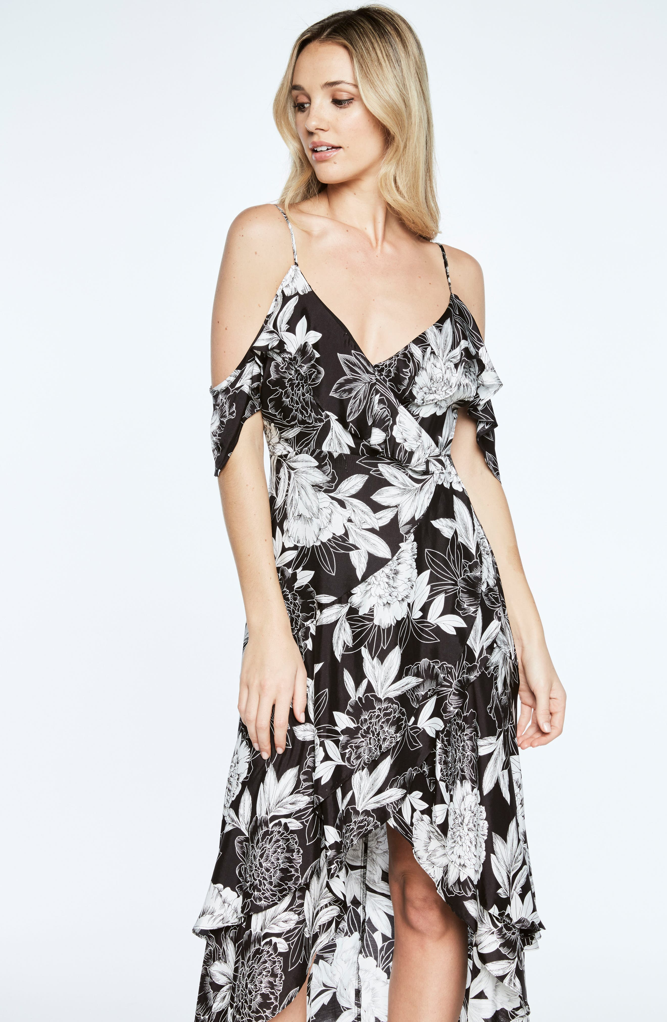 Frankie Frill Floral Dress,                             Alternate thumbnail 5, color,                             001
