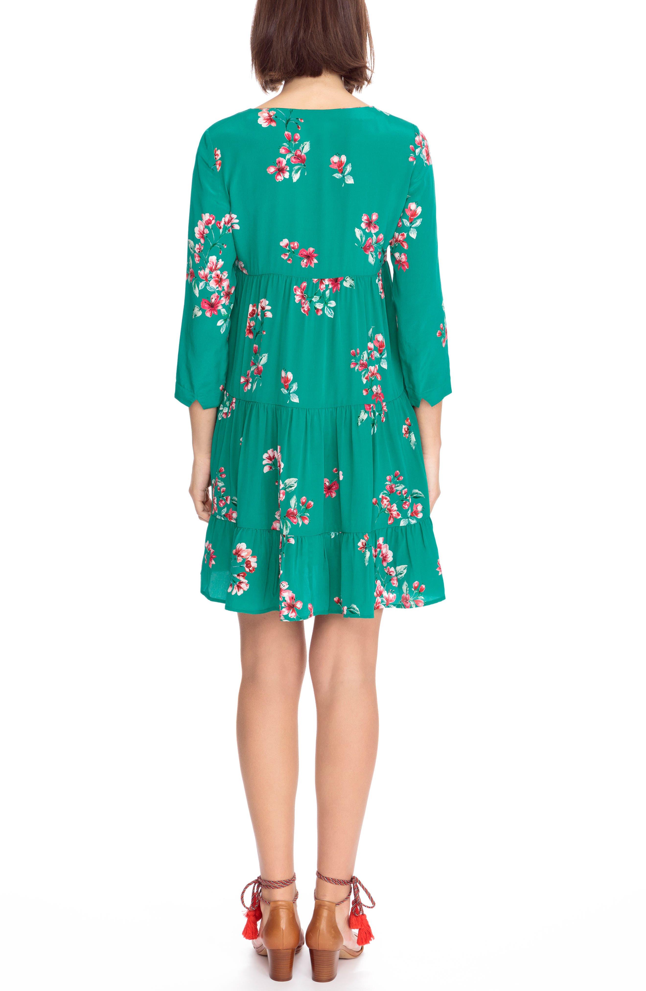Aure Silk A-Line Dress,                             Alternate thumbnail 6, color,
