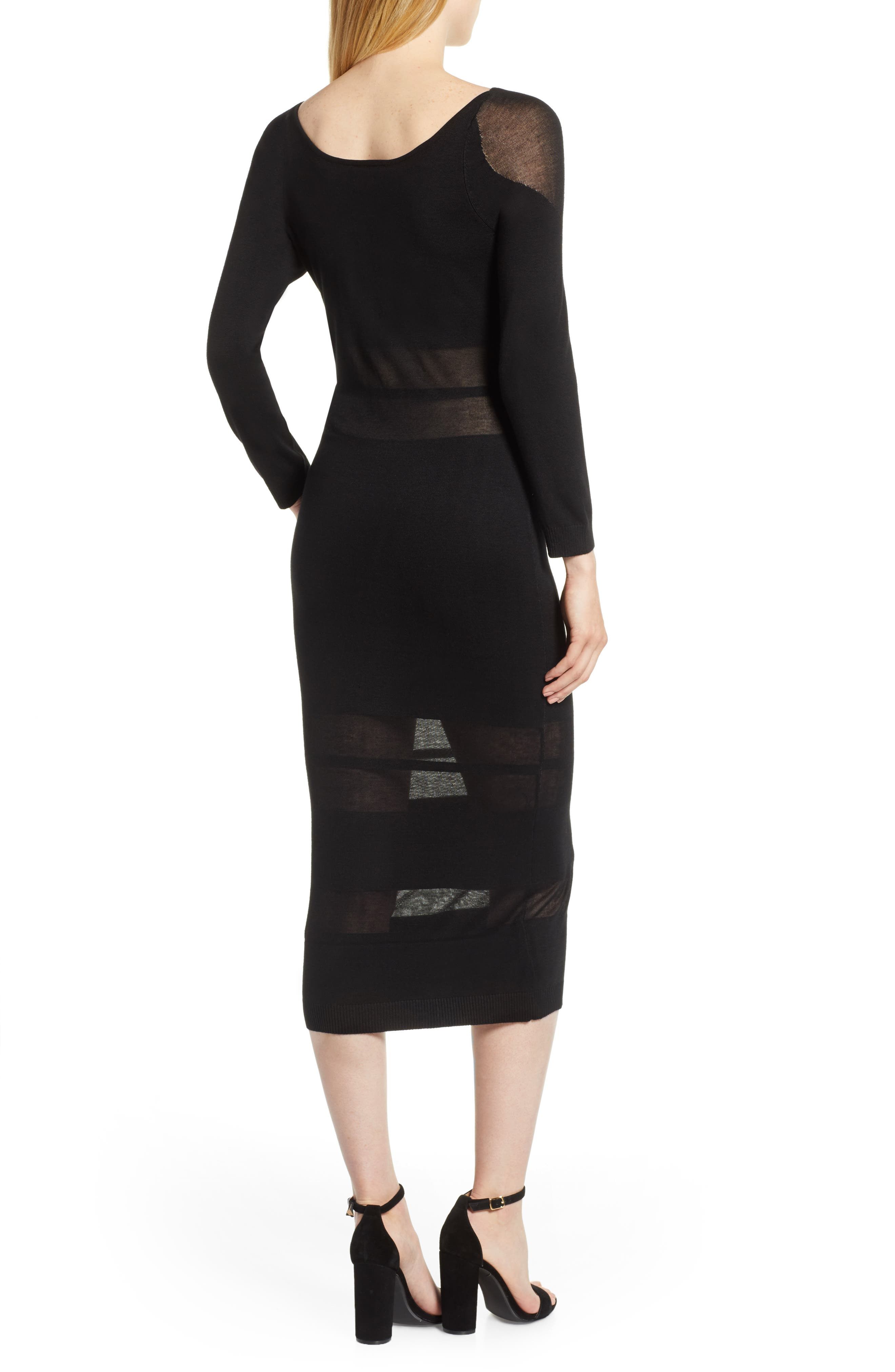 Illusion Stripe Midi Dress,                             Alternate thumbnail 2, color,                             BLACK