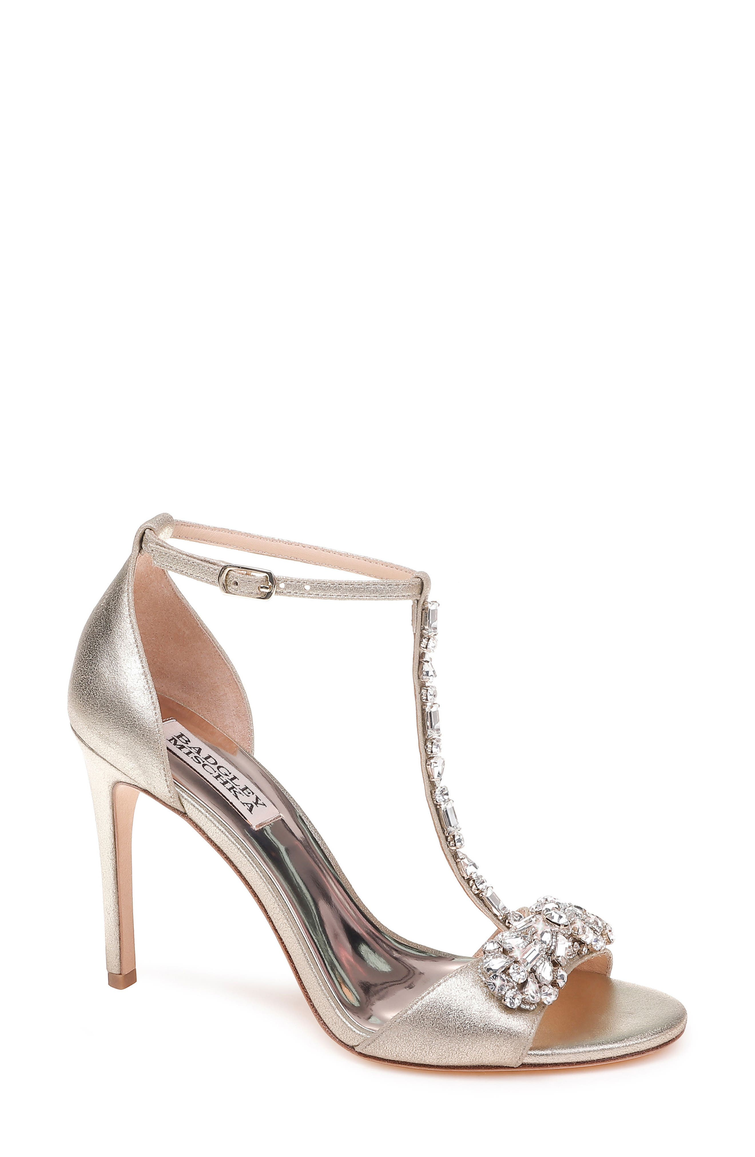 Pascale T-Strap Sandal,                             Main thumbnail 1, color,                             PLATINUM METALLIC SUEDE