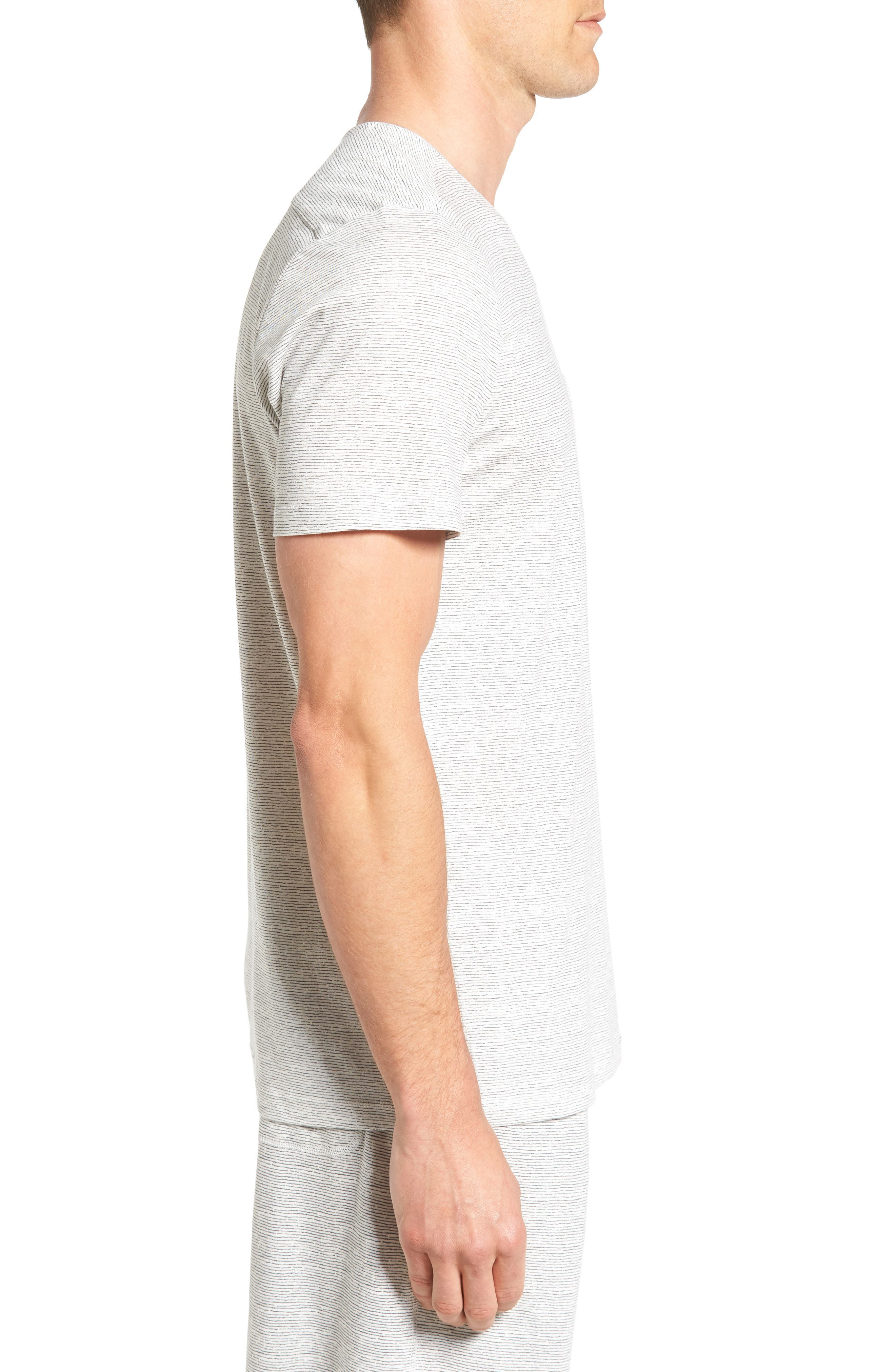 Feeder Stripe Pima Cotton & Modal V-Neck T-Shirt,                             Alternate thumbnail 7, color,